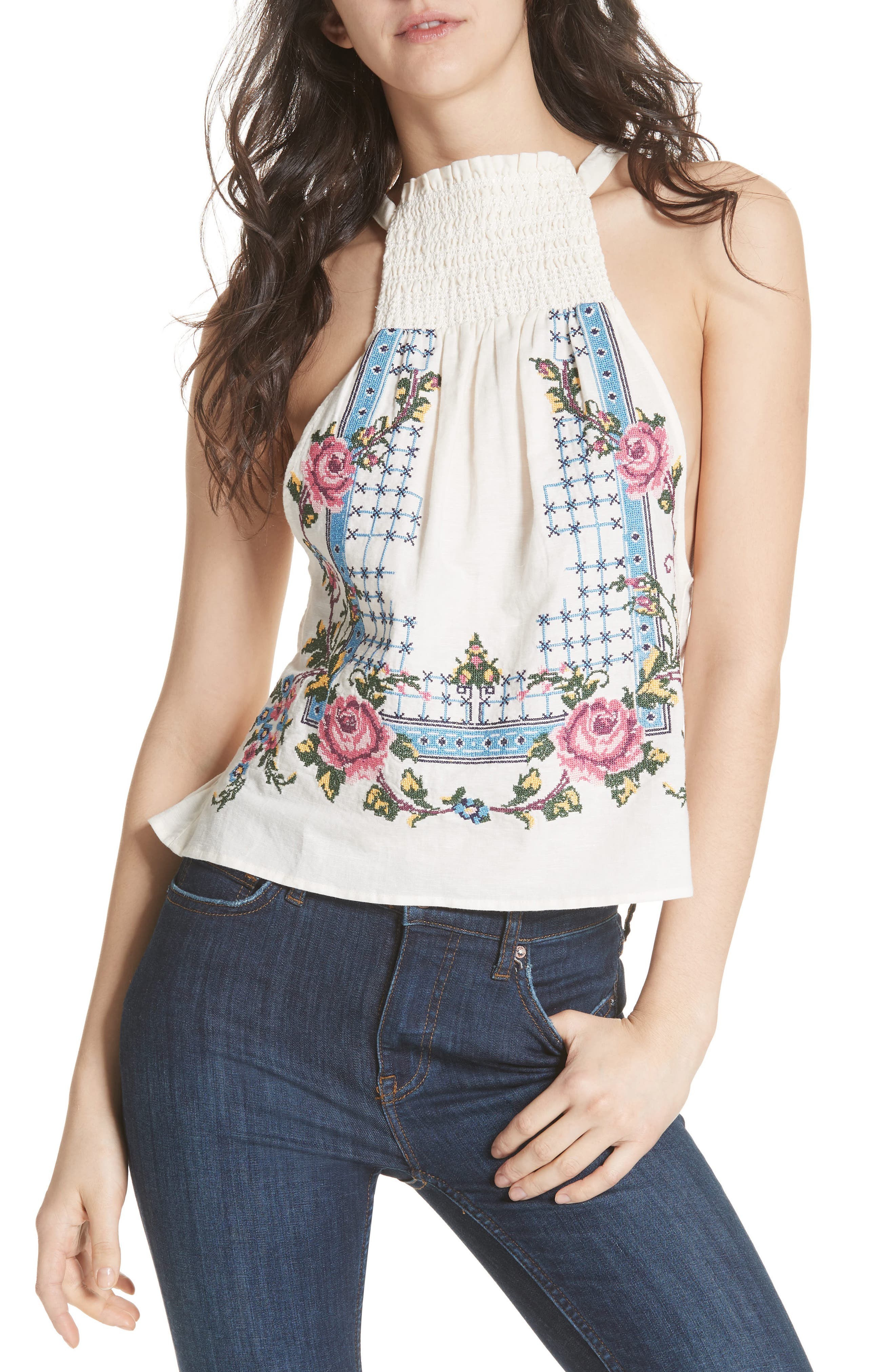 Honey Pie Embroidered Tank,                             Main thumbnail 1, color,                             103
