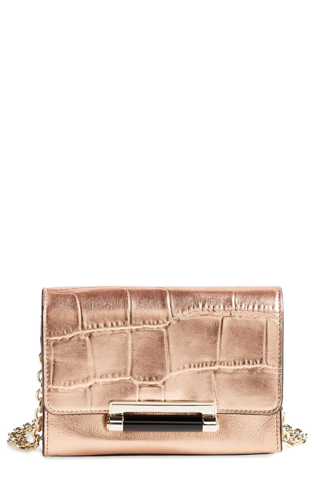 'Micro Mini 440' Croc Embossed Metallic Leather Crossbody Bag,                         Main,                         color, 711