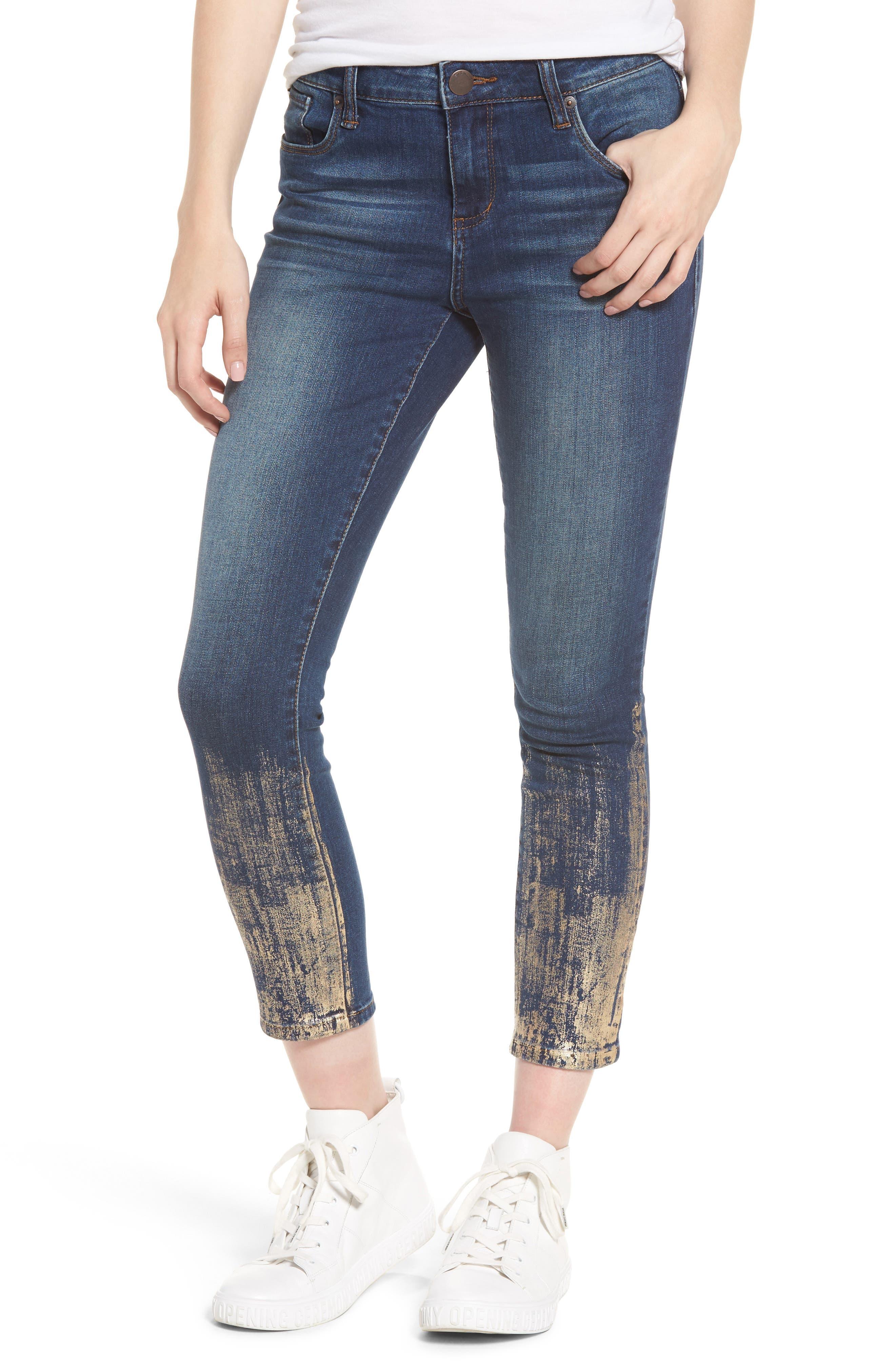 Piper Foil Crop Skinny Jeans,                             Main thumbnail 1, color,                             400