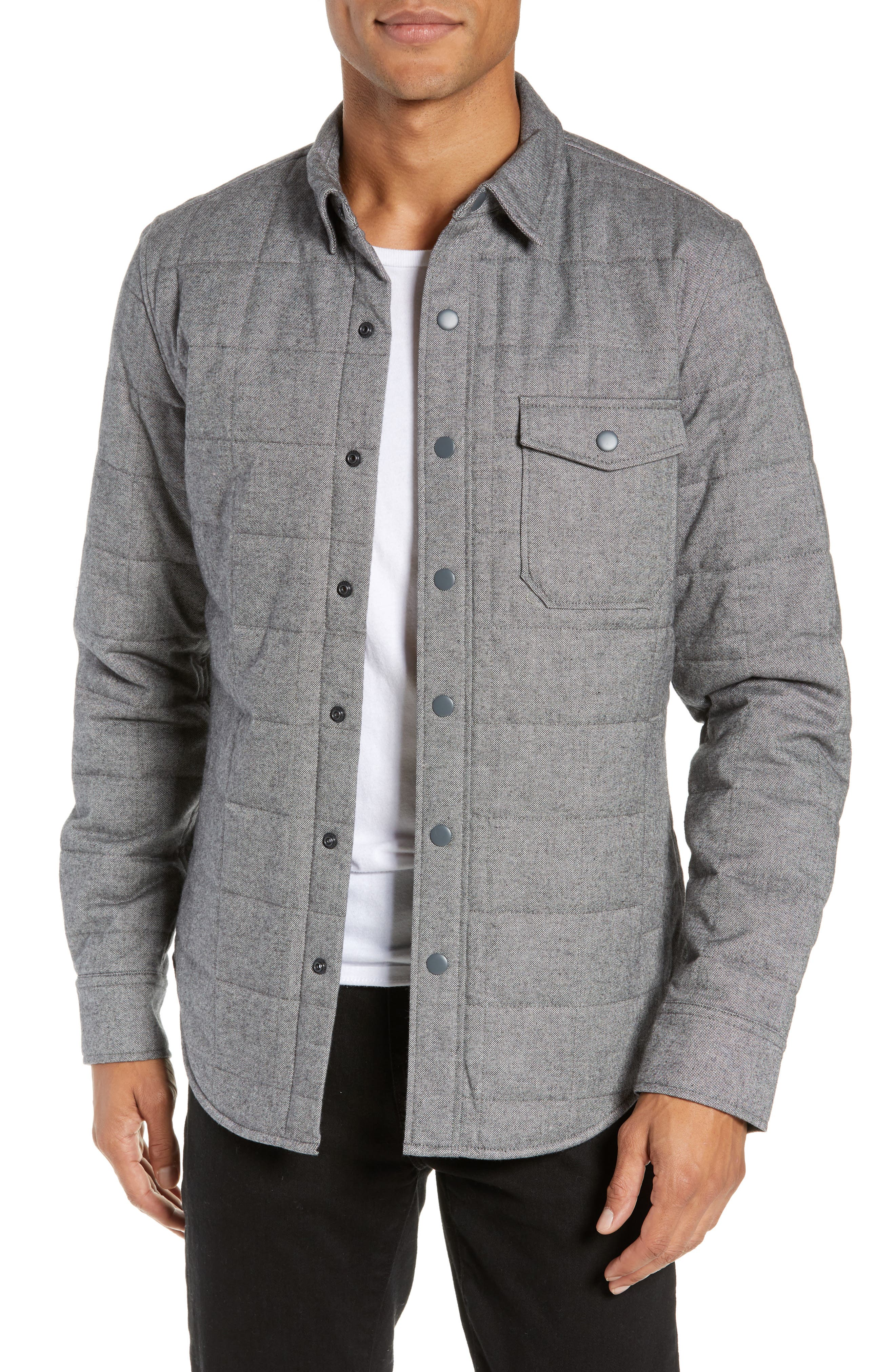 Quilted Herringbone Shirt Jacket, Main, color, GREY COTTON HERRINGBONE