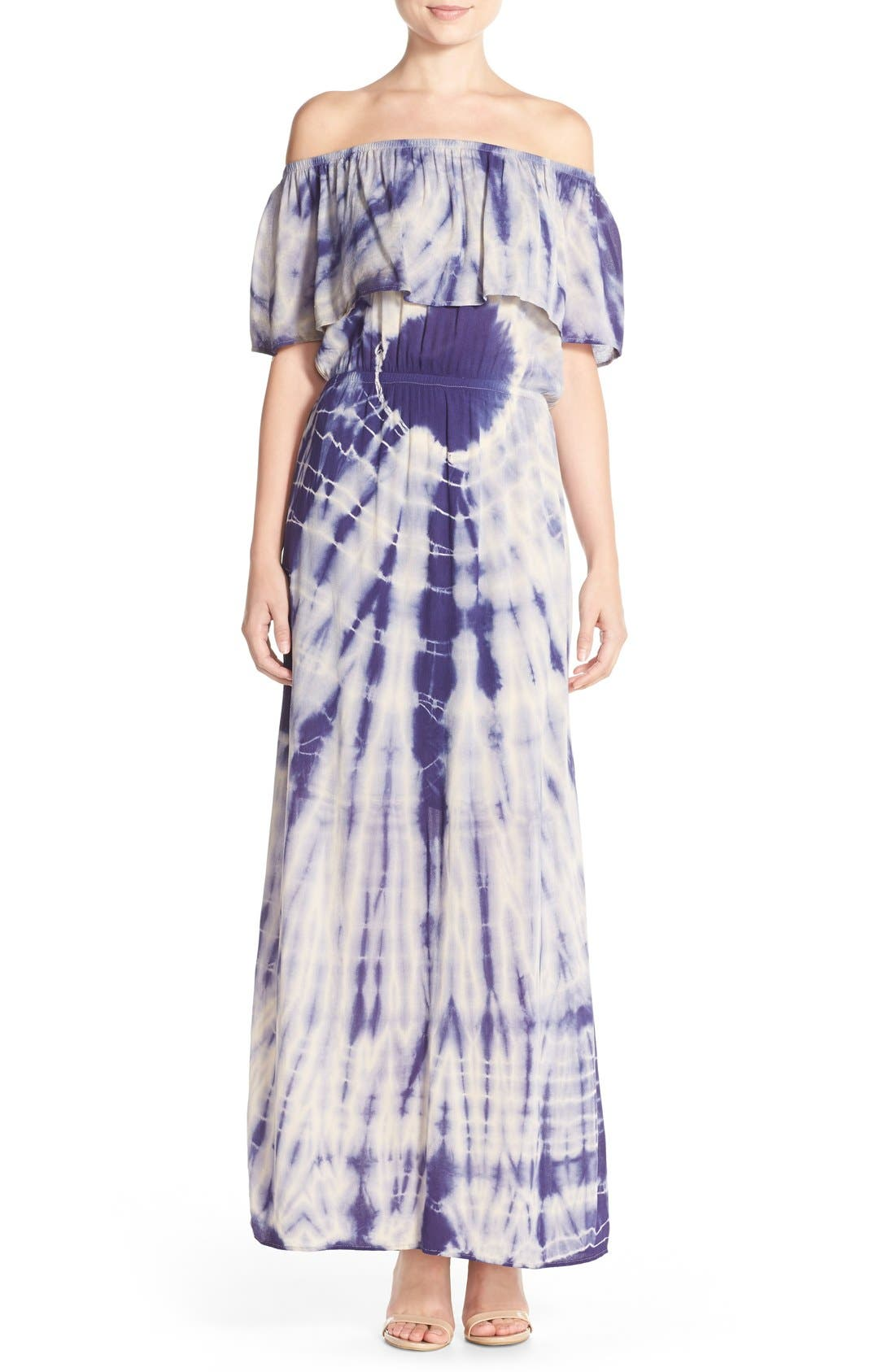 Tie Dye Off Shoulder Maxi Dress,                             Main thumbnail 2, color,