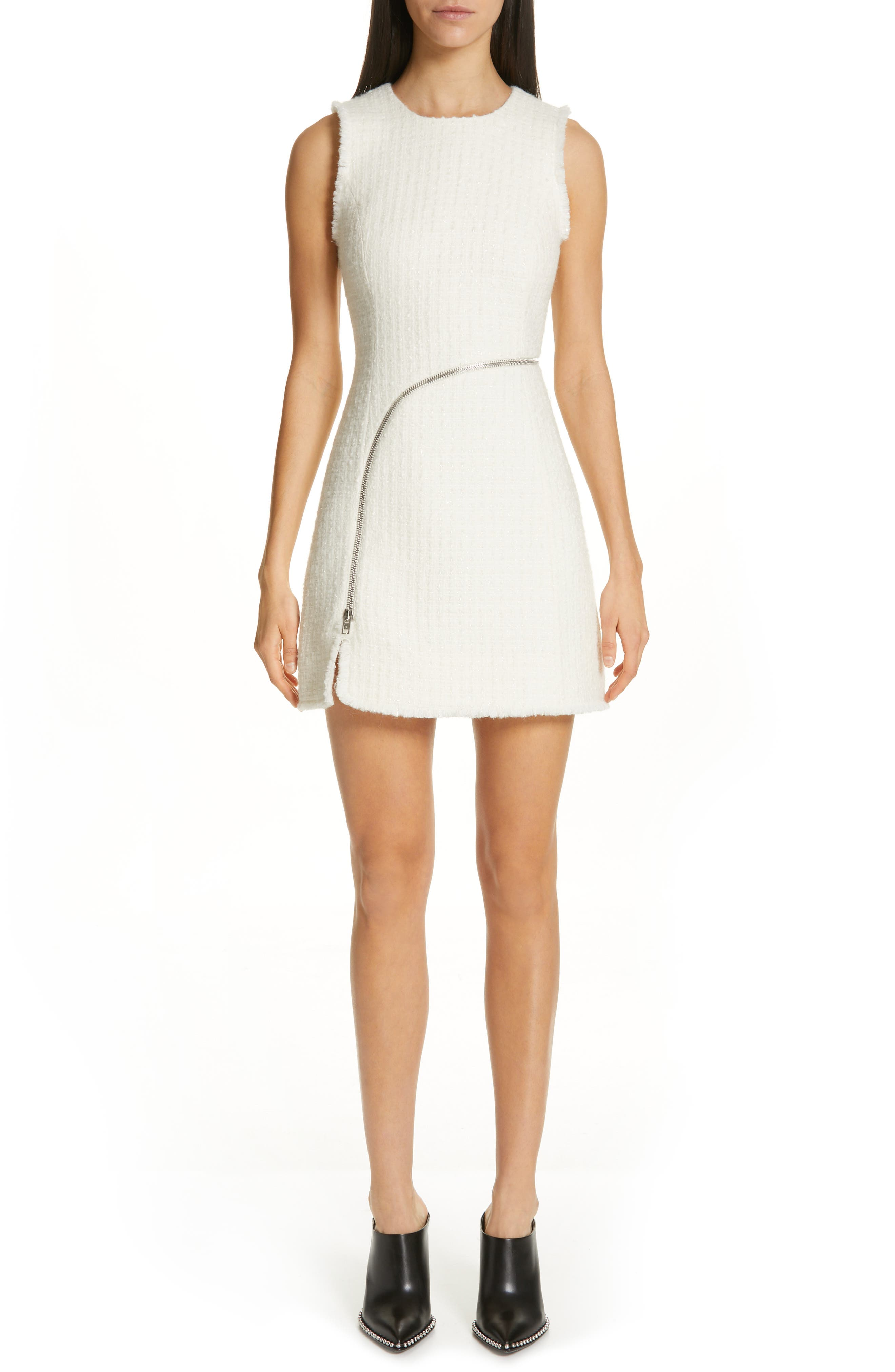 Alexander Wang Zip Detail Tweed Sheath Dress, Ivory
