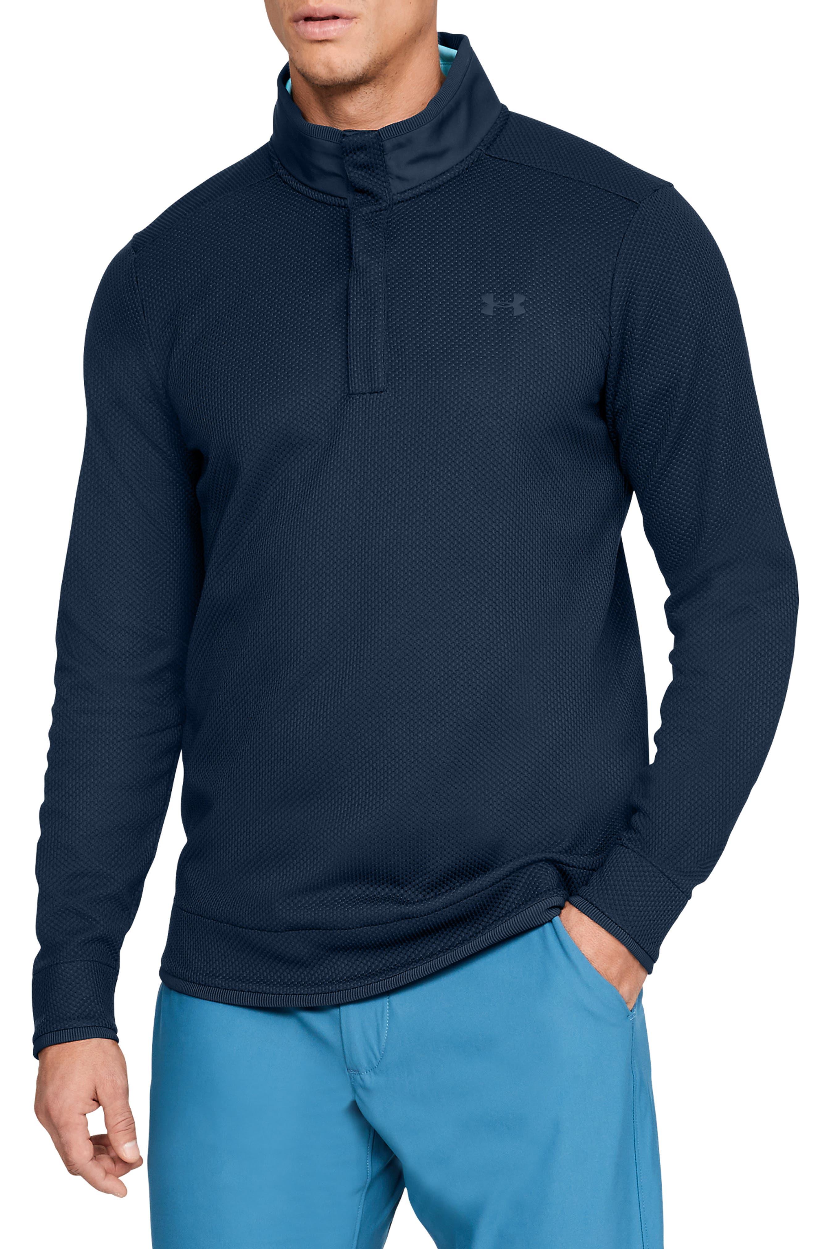 Under Armour Storm Sweaterfleece Snap Mock Neck Pullover, Blue