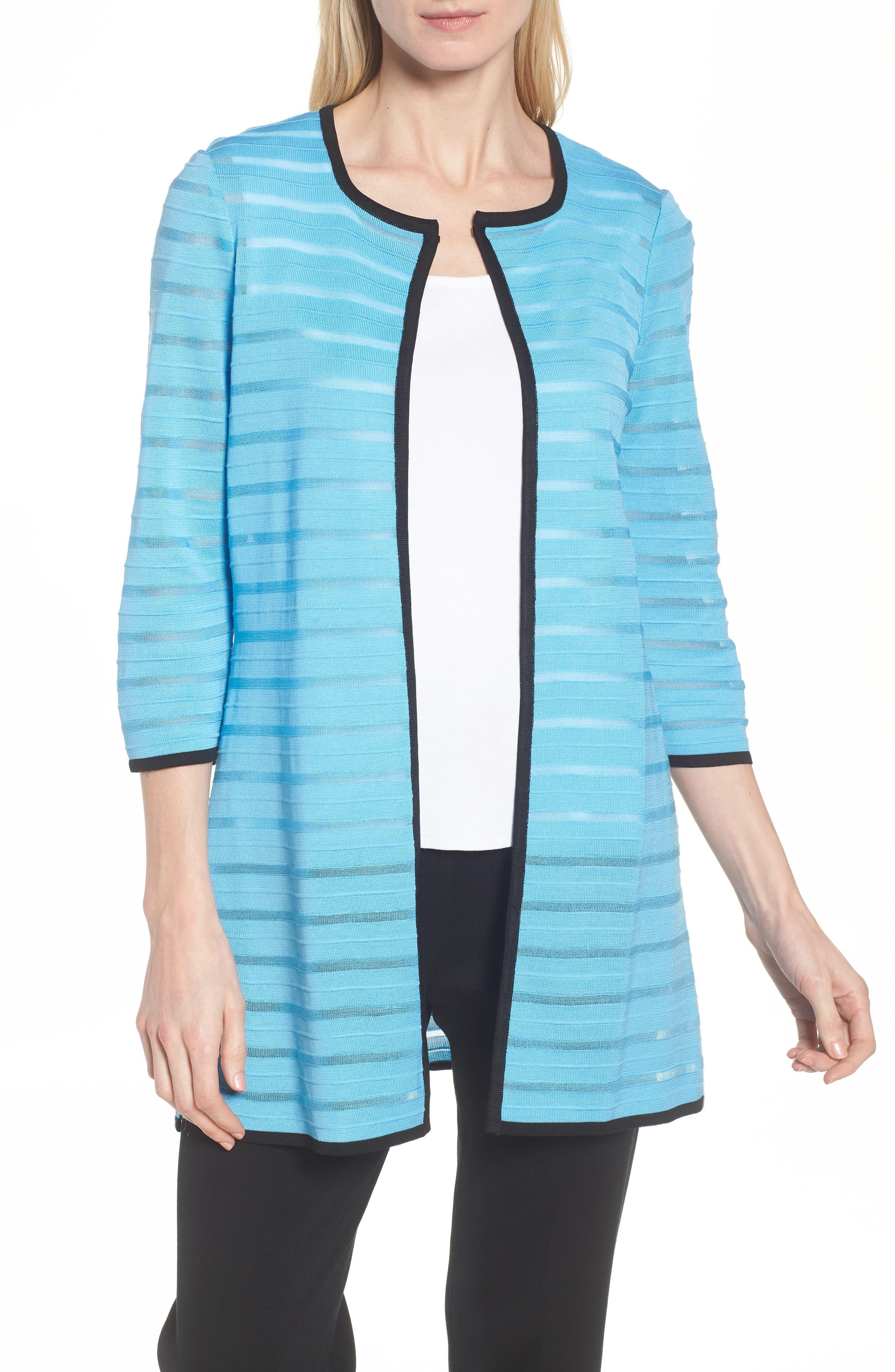 Sheer Stripe Long Jacket,                             Main thumbnail 1, color,                             BLUEBONNET/ BLACK