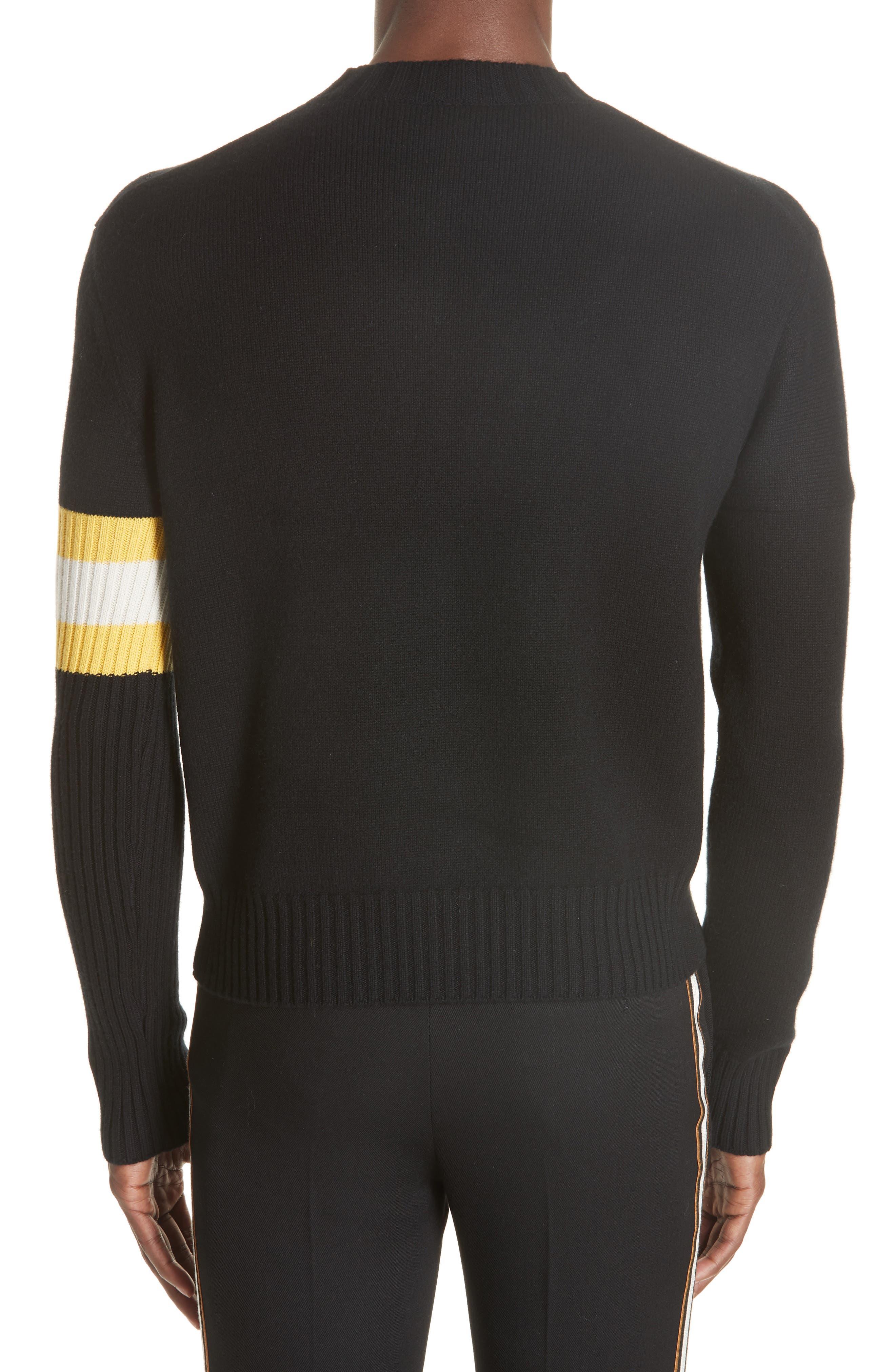 Cashmere Stripe Sleeve Sweater,                             Alternate thumbnail 2, color,                             001