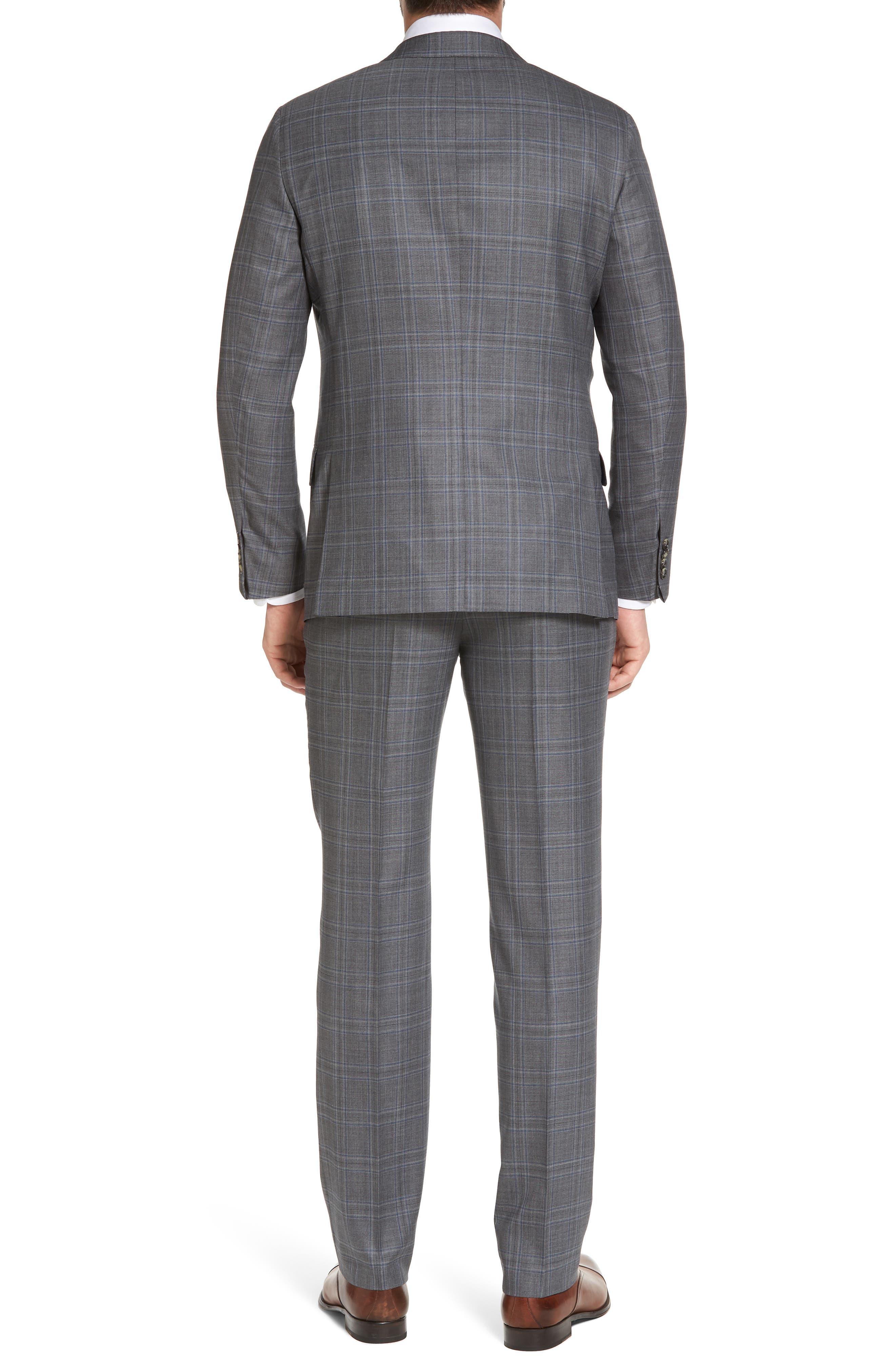 Classic B Fit Plaid Wool Suit,                             Alternate thumbnail 2, color,                             060