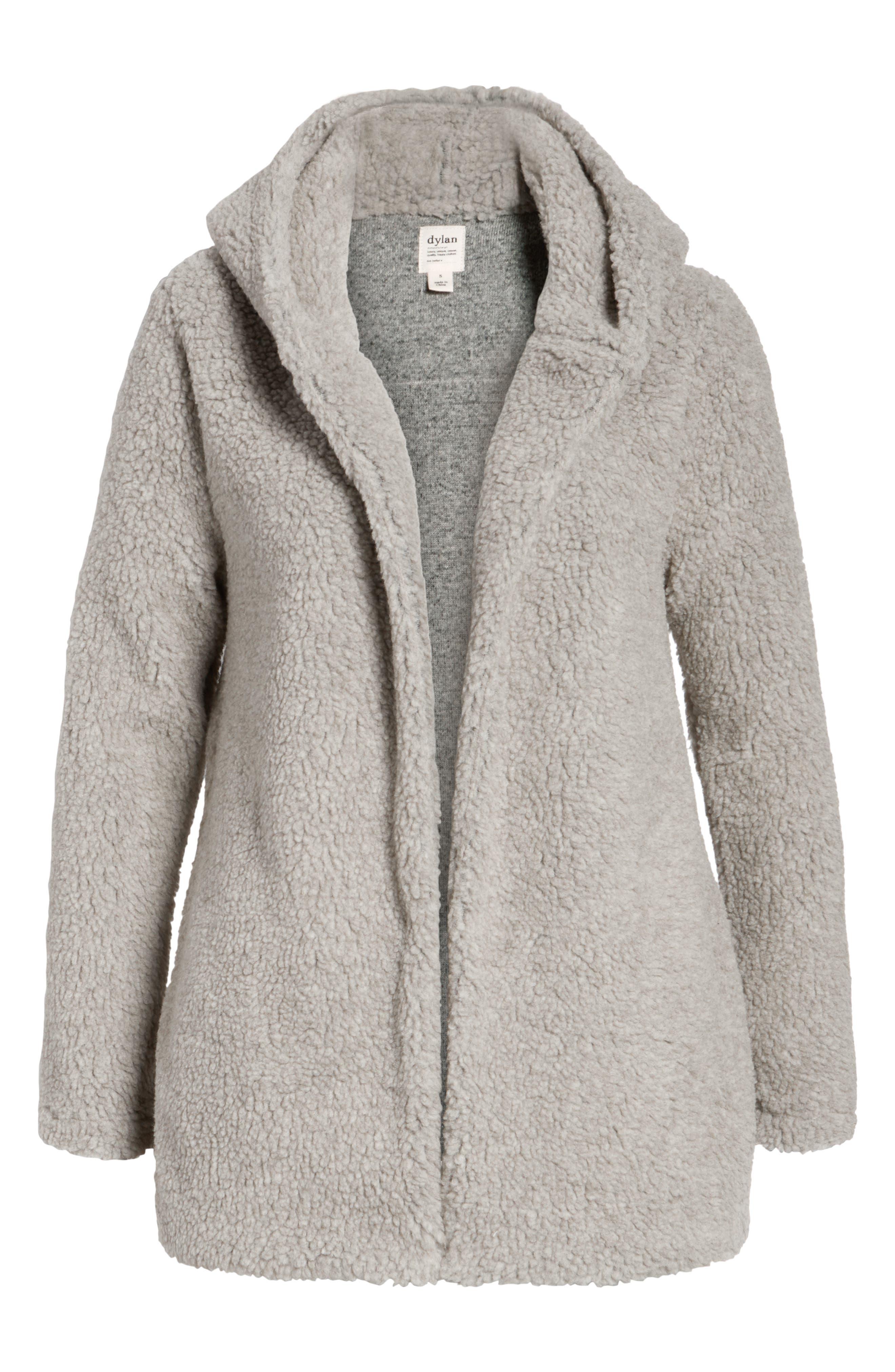 Hooded Faux Fur Jacket,                             Alternate thumbnail 5, color,