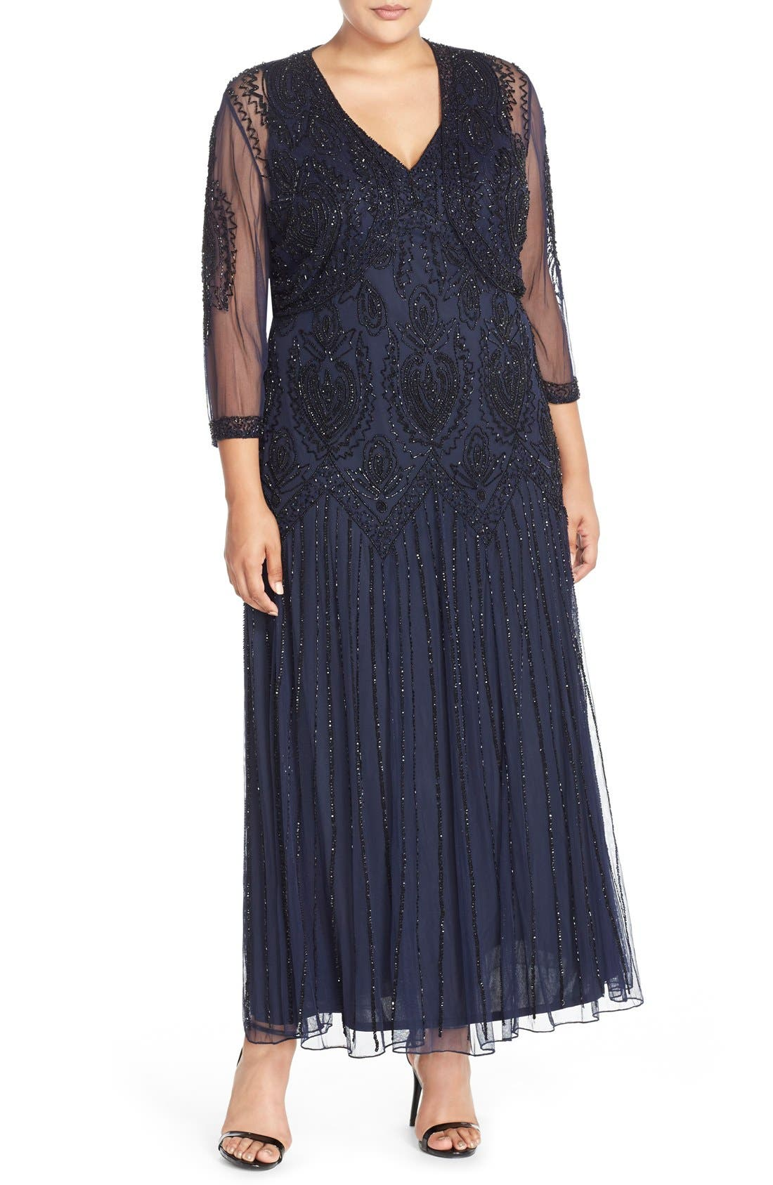 Beaded V-Neck Gown & Jacket,                             Main thumbnail 3, color,