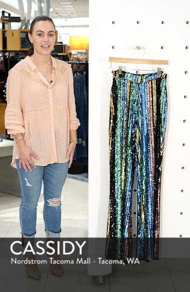 Leigh High Waist Sequin Stripe Pants, sales video thumbnail