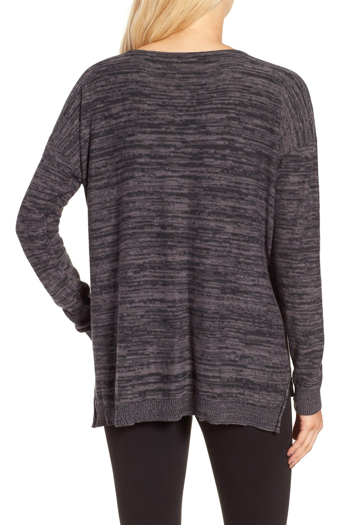 Marl V-Neck Pullover,                             Alternate thumbnail 4, color,                             001