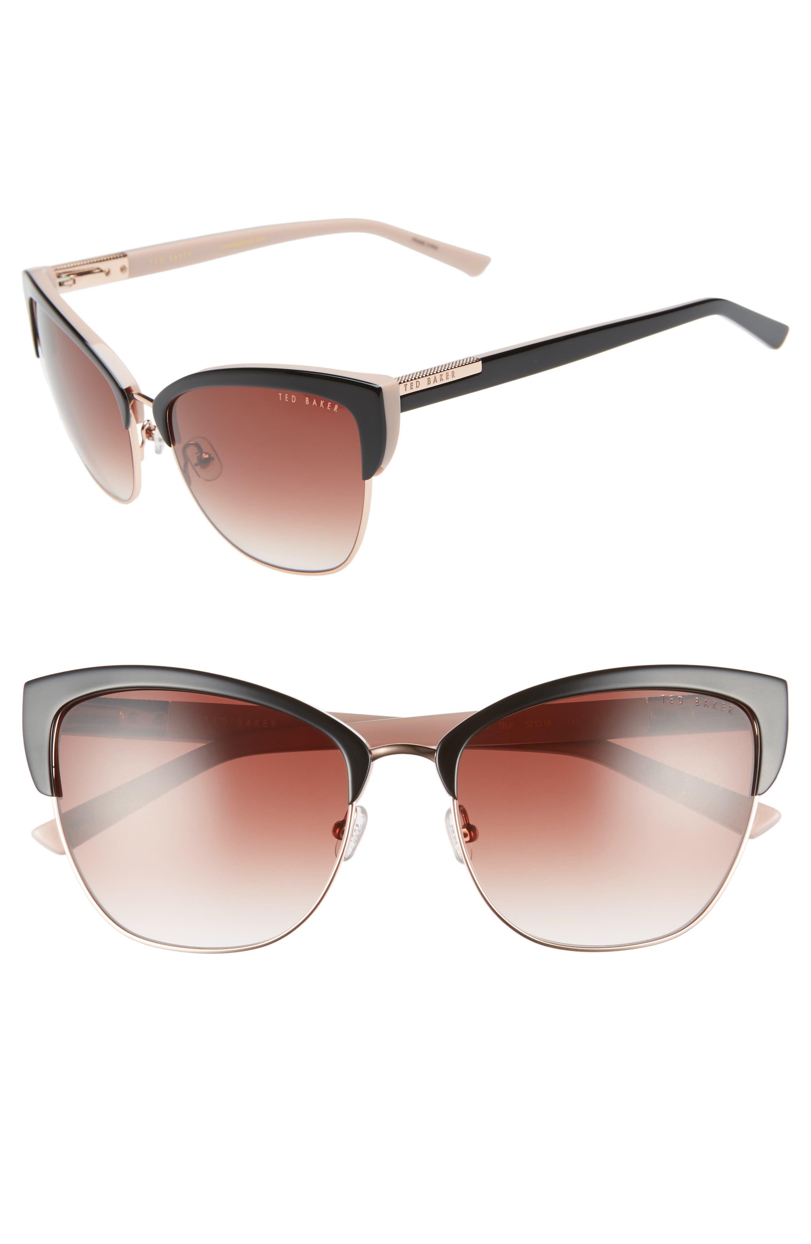 57mm Cat Eye Sunglasses,                             Main thumbnail 1, color,                             BLACK