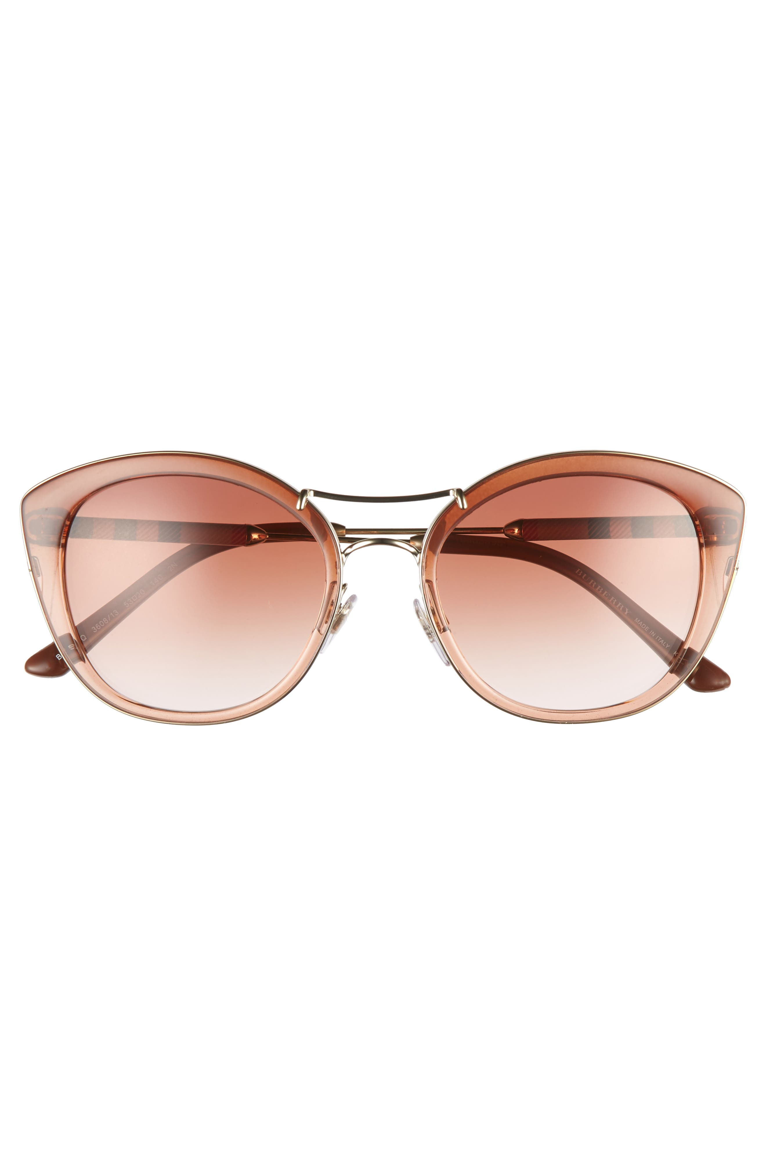 53mm Gradient Sunglasses,                             Alternate thumbnail 3, color,                             BROWN GRADIENT