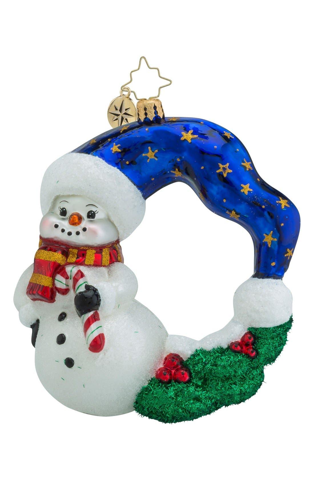 'Cool Chaplet' Snowman Wreath Ornament,                         Main,                         color, 100