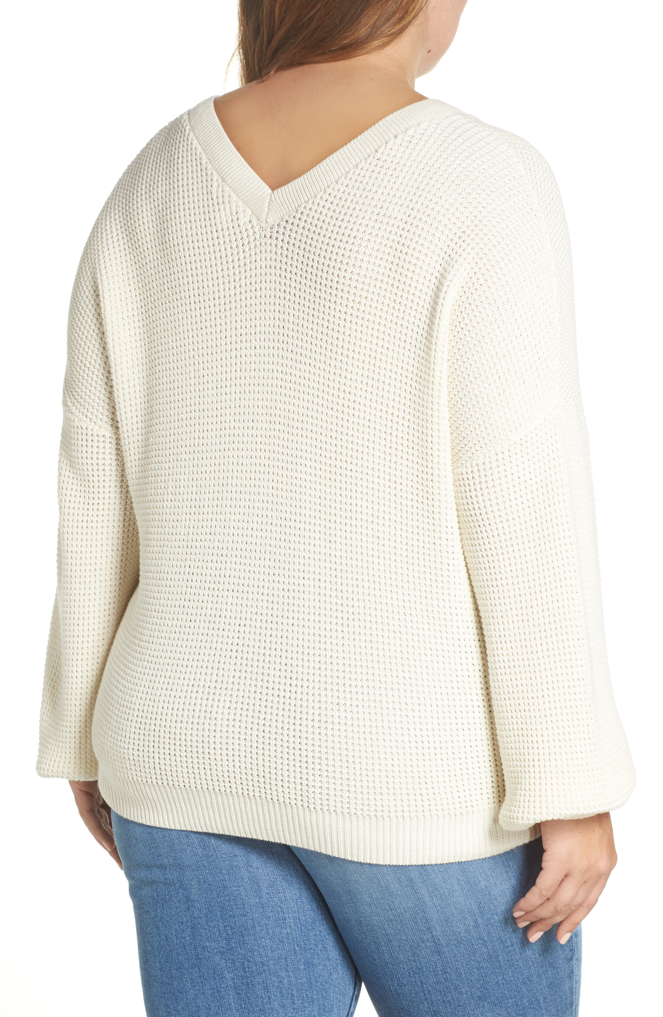 Twist Front Sweater,                             Alternate thumbnail 8, color,                             IVORY