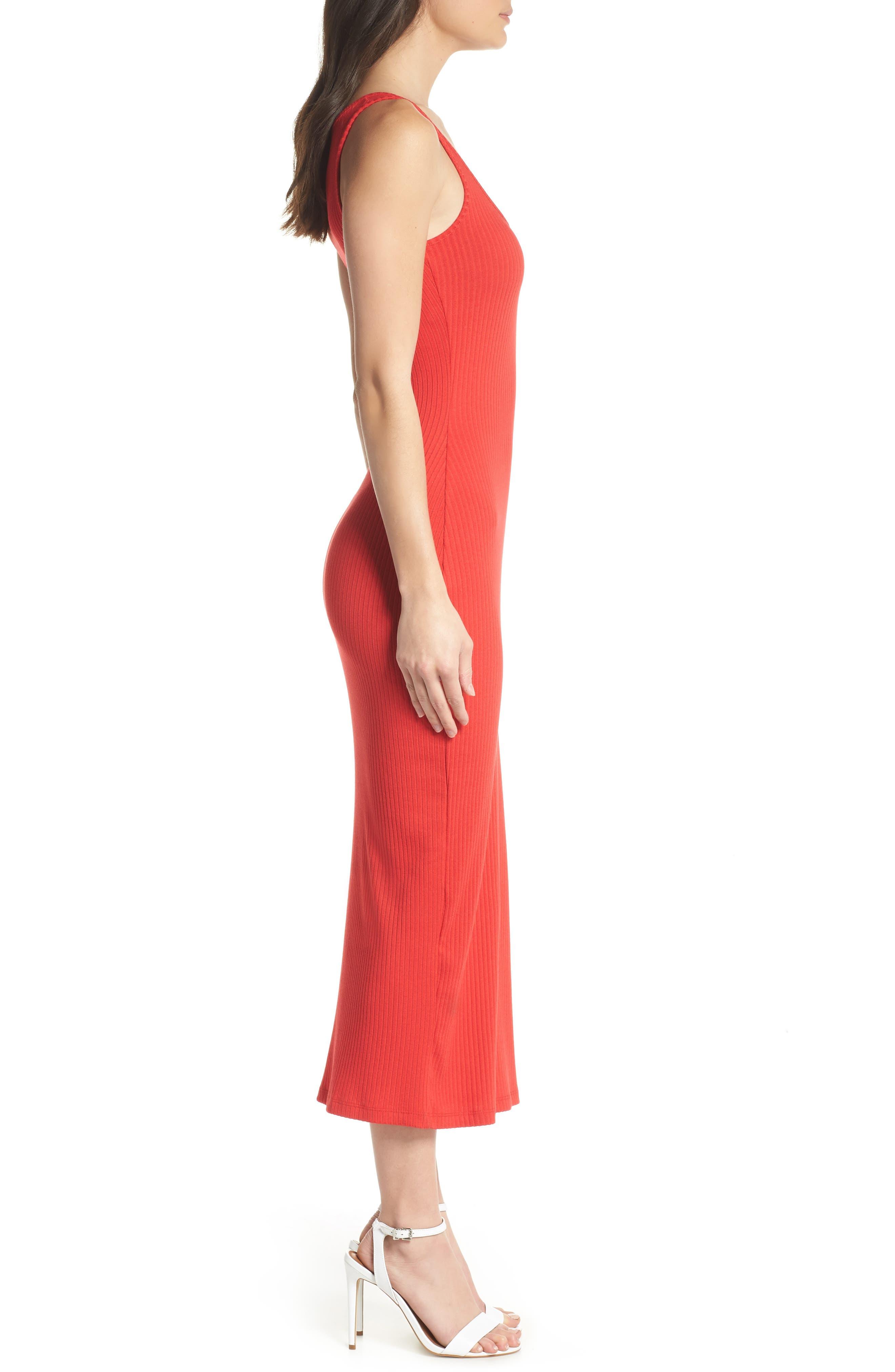 Tommy Rib Knit Tank Dress,                             Alternate thumbnail 3, color,                             SHANGHAI RED