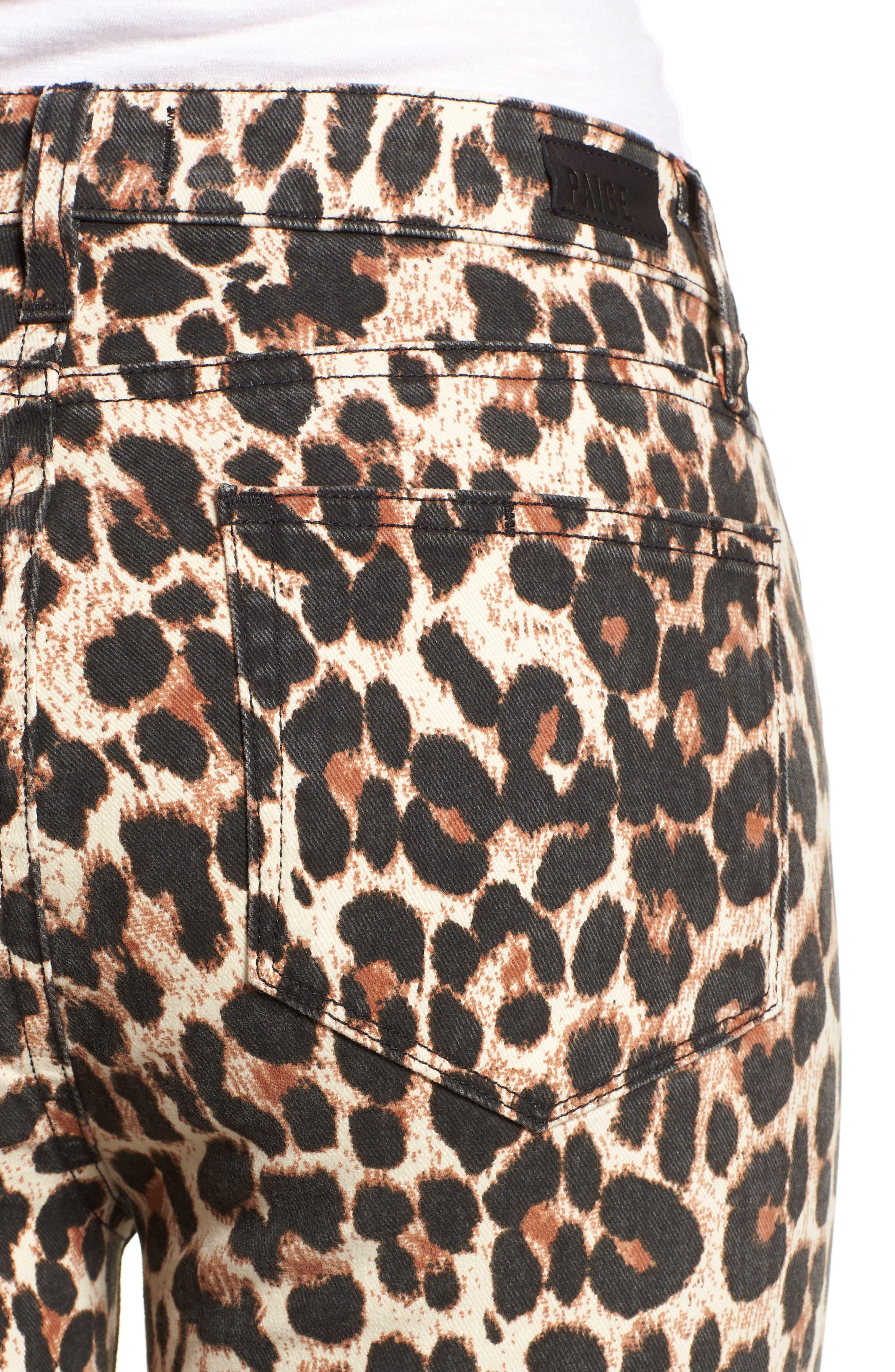 Hoxton High Waist Ankle Straight Leg Jeans,                             Alternate thumbnail 4, color,                             SAHARA LEOPARD