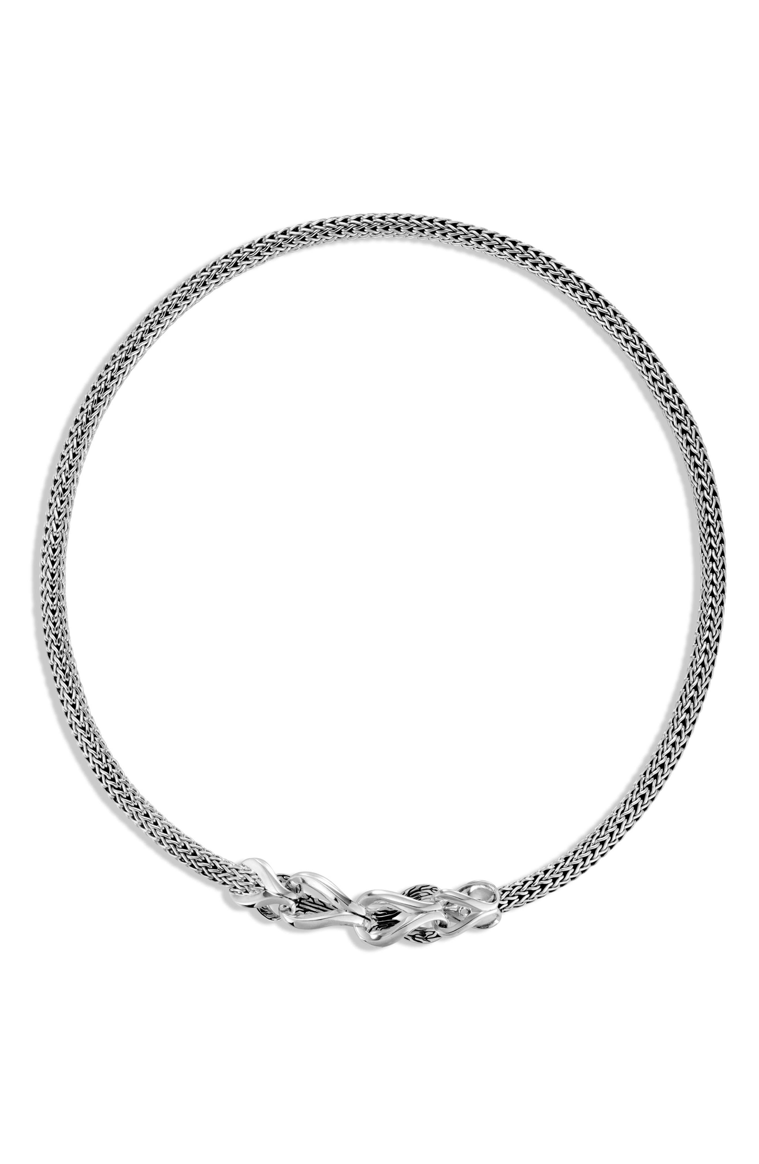 Asli Classic Chain Link Bib Necklace,                             Alternate thumbnail 3, color,                             SILVER
