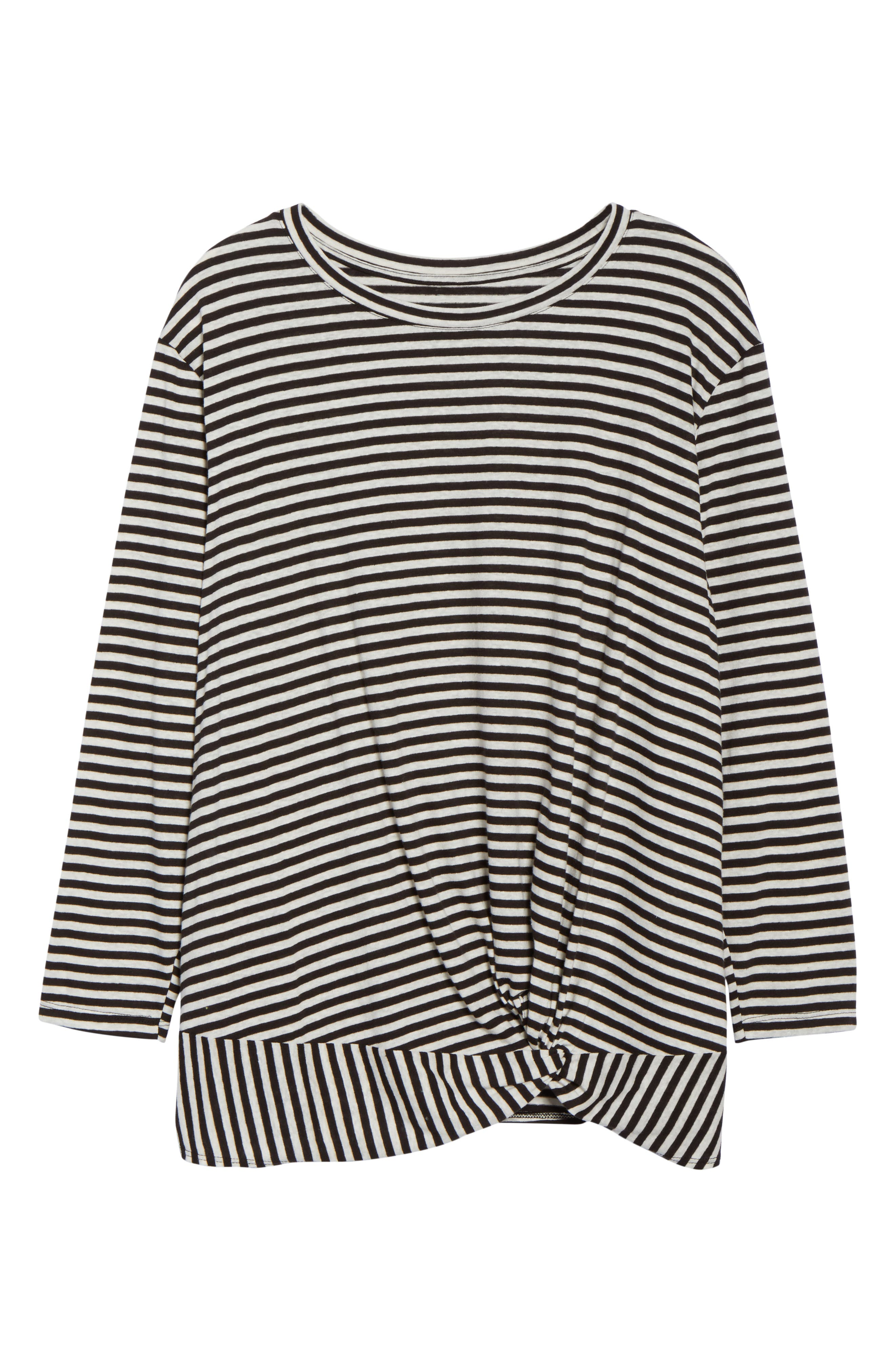 Knot Front Long Sleeve Tee,                             Alternate thumbnail 6, color,                             IVORY- BLACK EVEN STRIPE