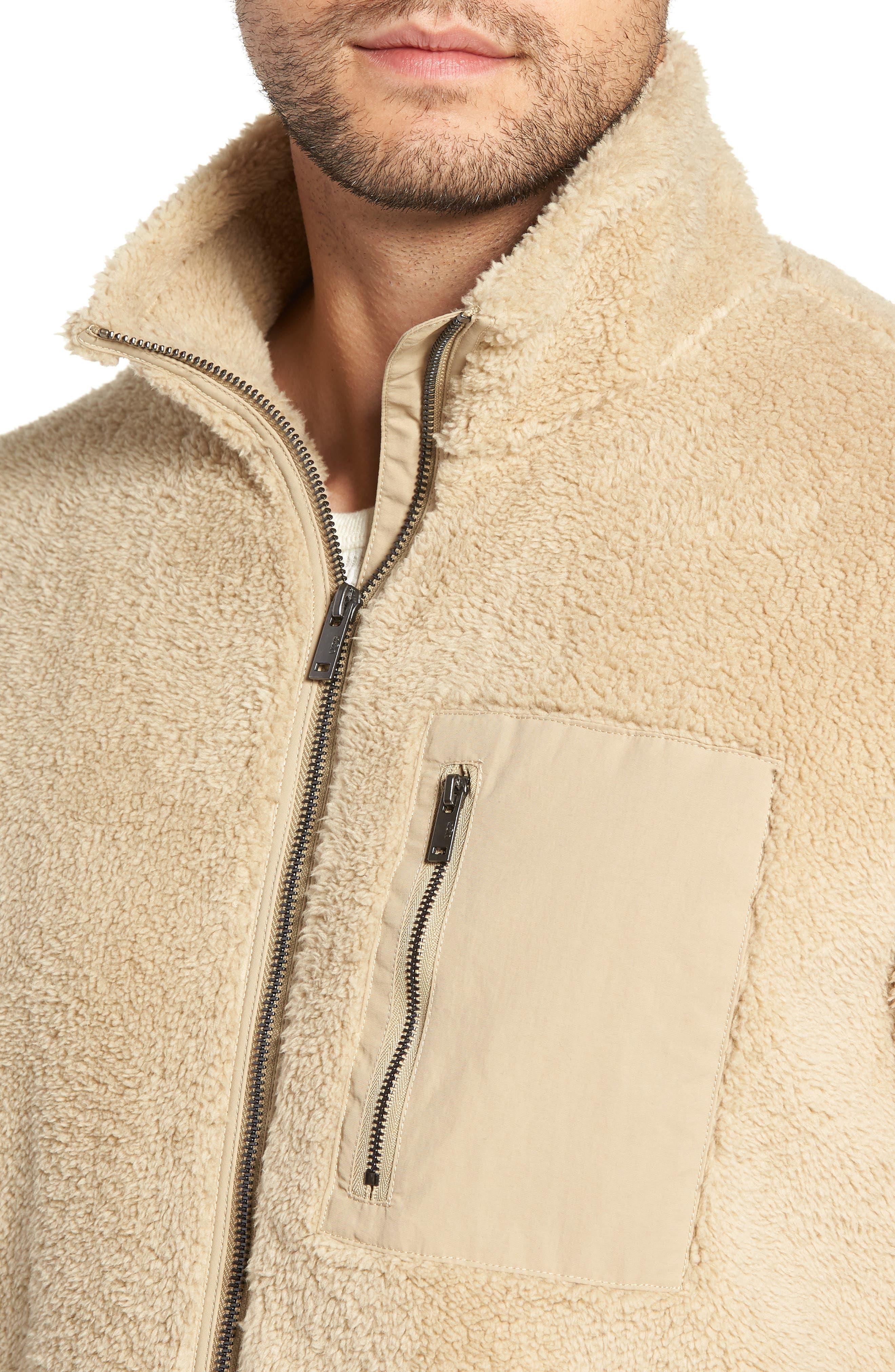 Lucas High Pile Fleece Sweater Jacket,                             Alternate thumbnail 4, color,                             SAND