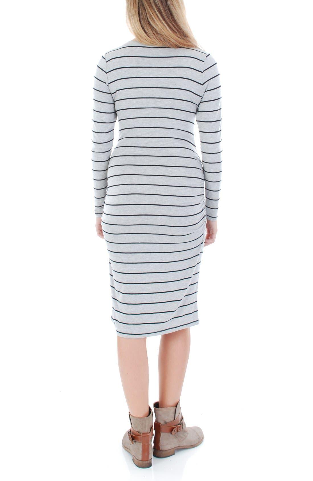 EverlyGrey 'Hanh' Maternity T-Shirt Dress,                             Alternate thumbnail 2, color,                             GREY STRIPE