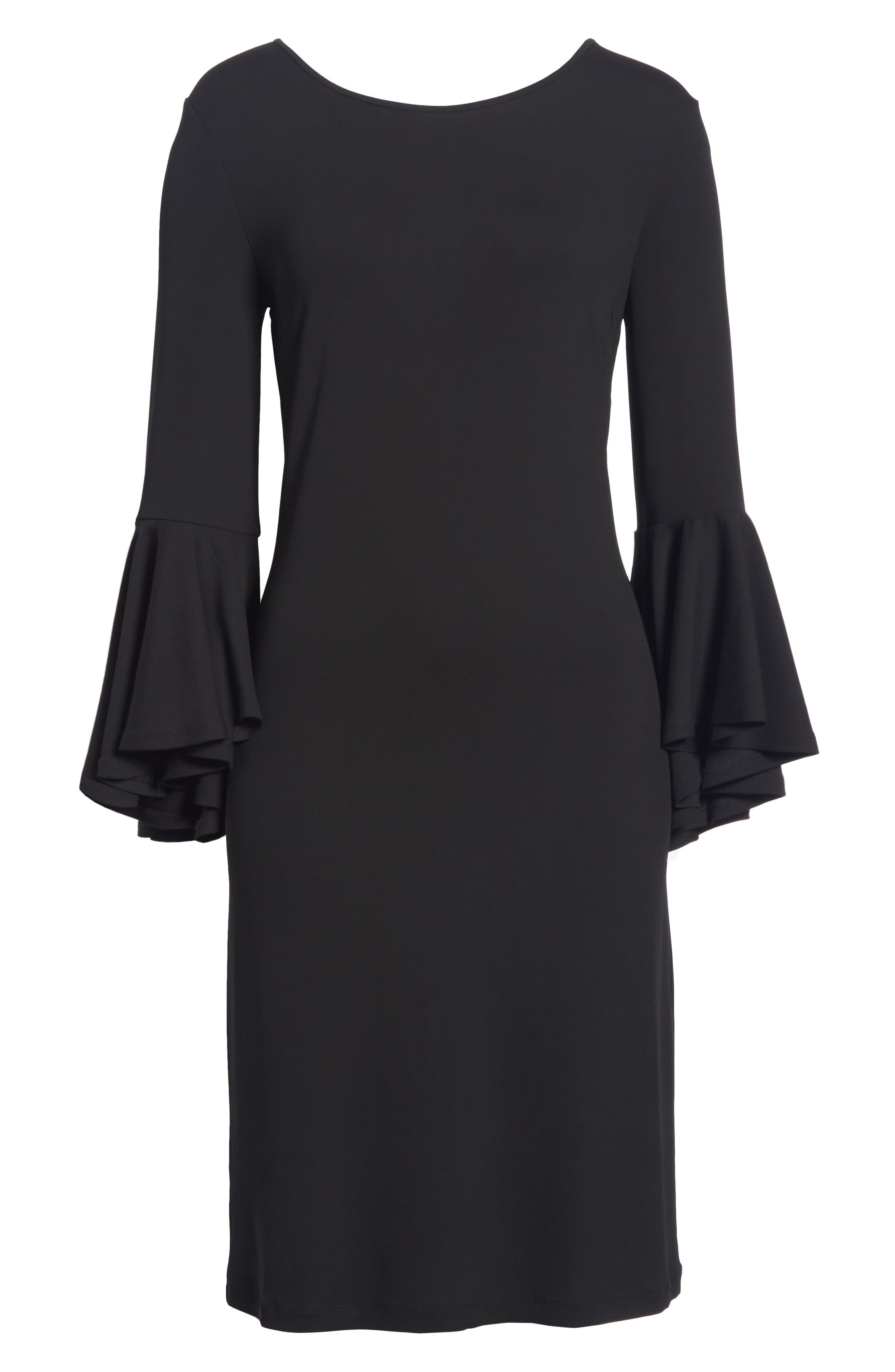 Cascade Sleeve Sheath Dress,                             Alternate thumbnail 6, color,                             001