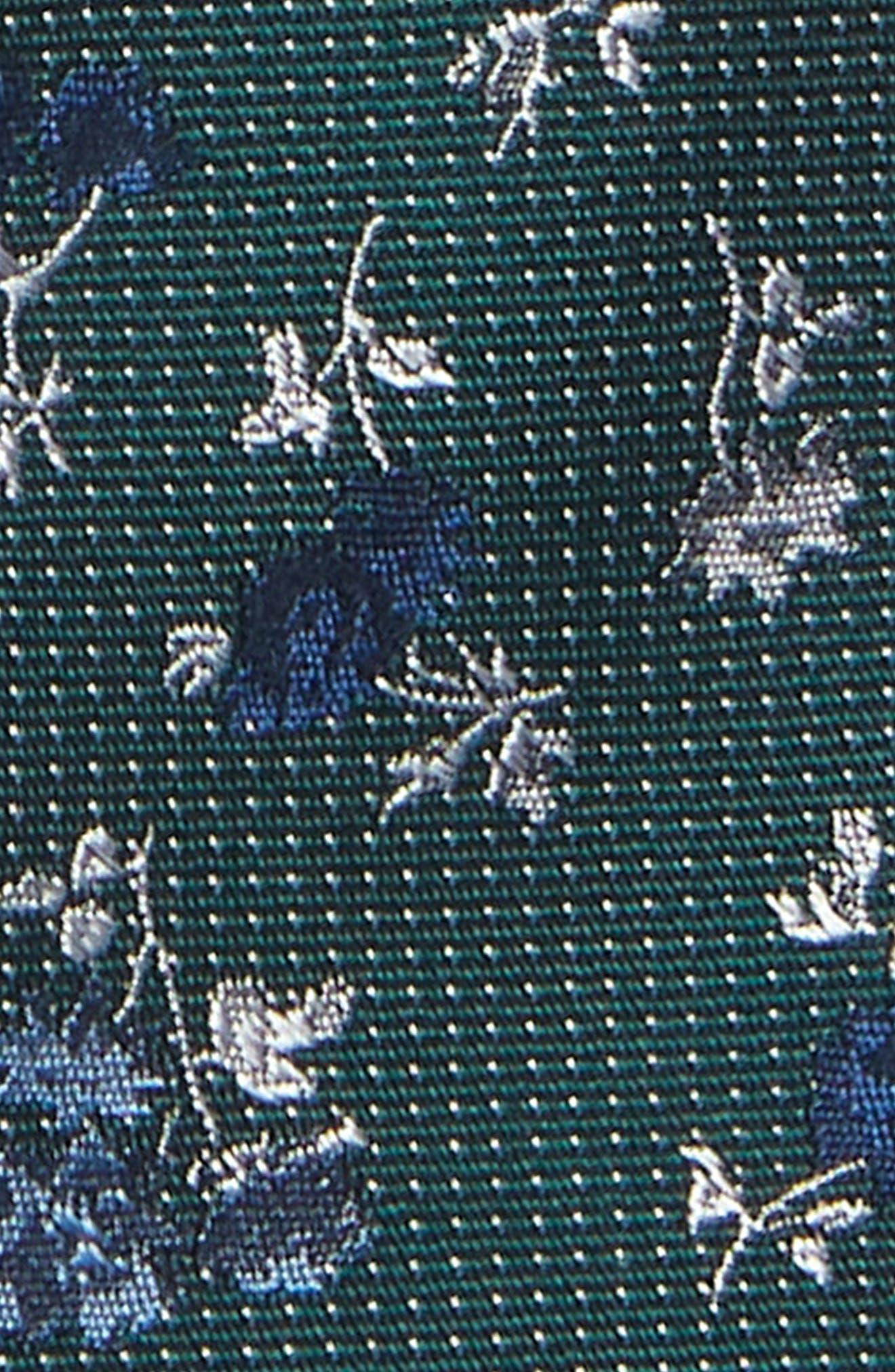 Ditsy Rose Silk Tie,                             Alternate thumbnail 2, color,                             GREEN