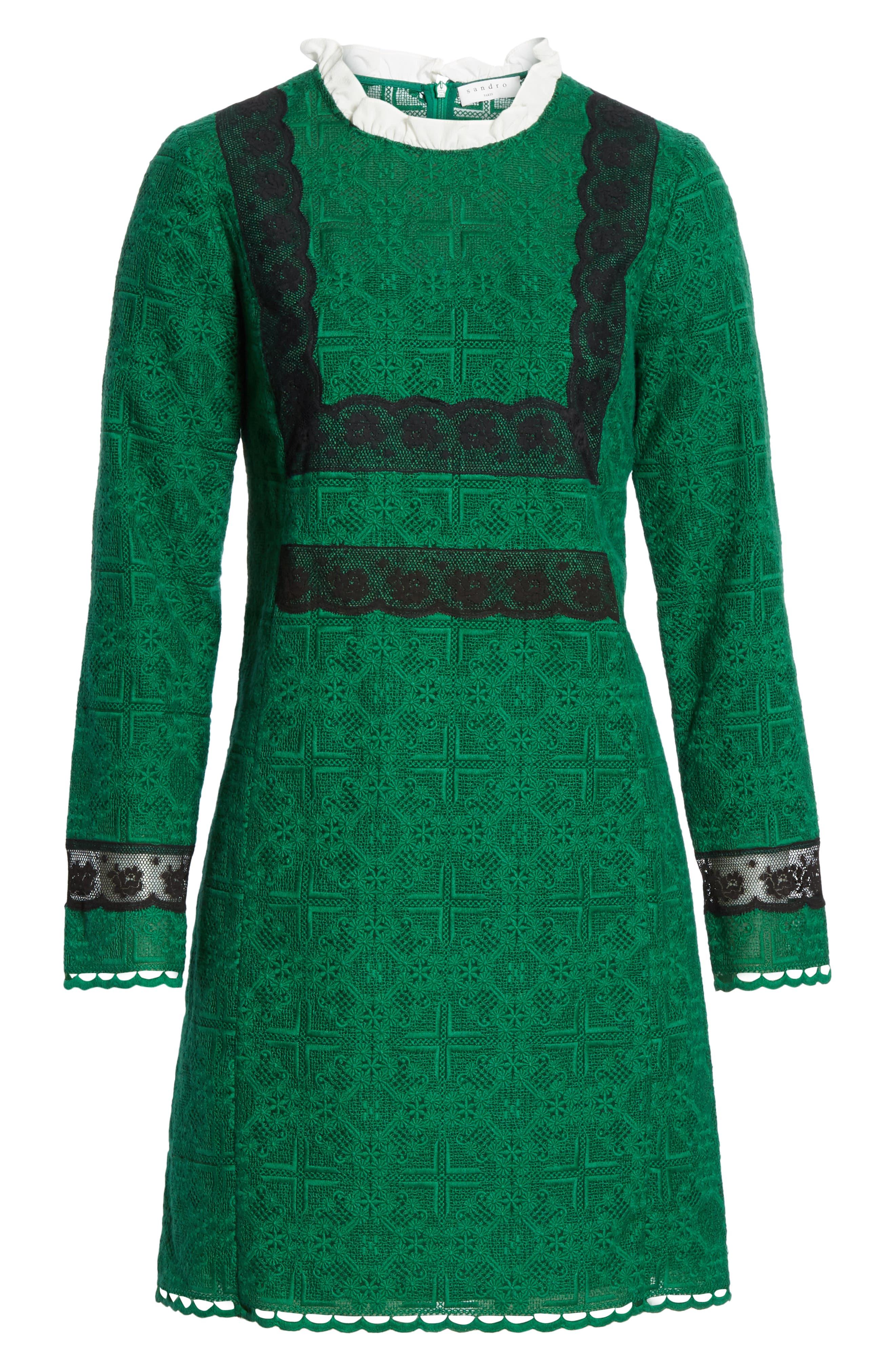 Dylan Frill Neck Lace Dress,                             Alternate thumbnail 6, color,                             VERT