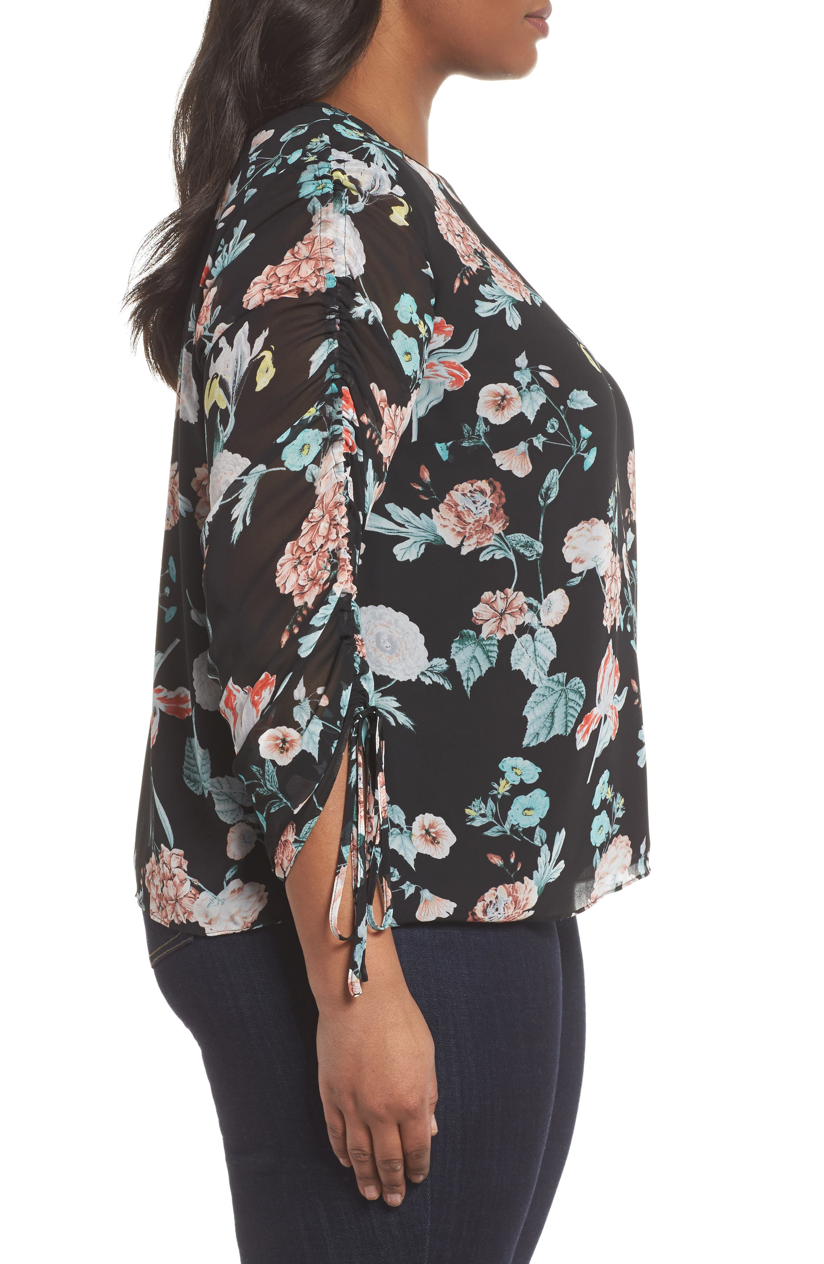 Floral Gardens Drawstring Sleeve Blouse,                             Alternate thumbnail 3, color,                             010