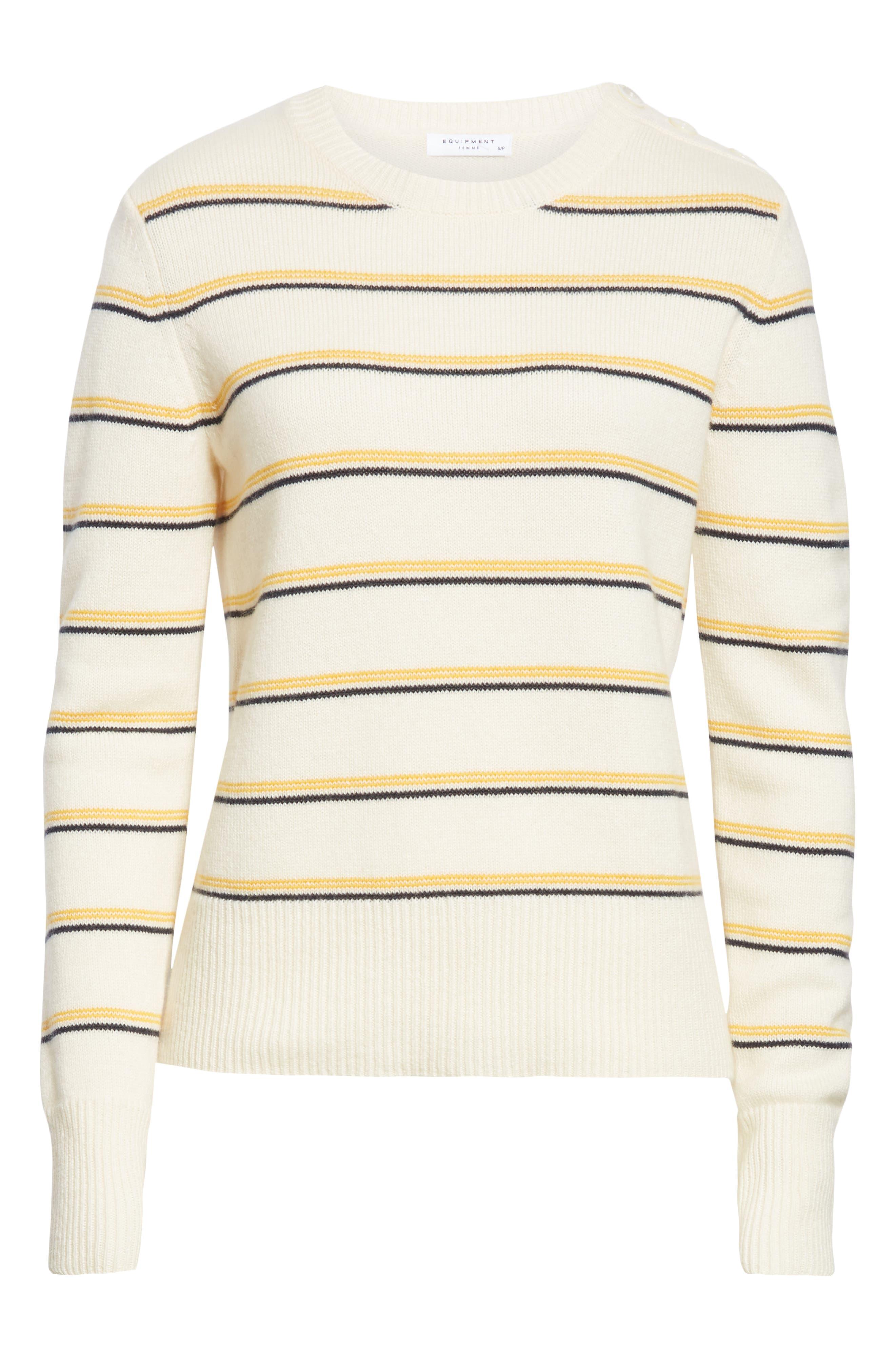 Duru Wool & Cashmere Sweater,                             Alternate thumbnail 6, color,                             NATURE WHITE MULTI
