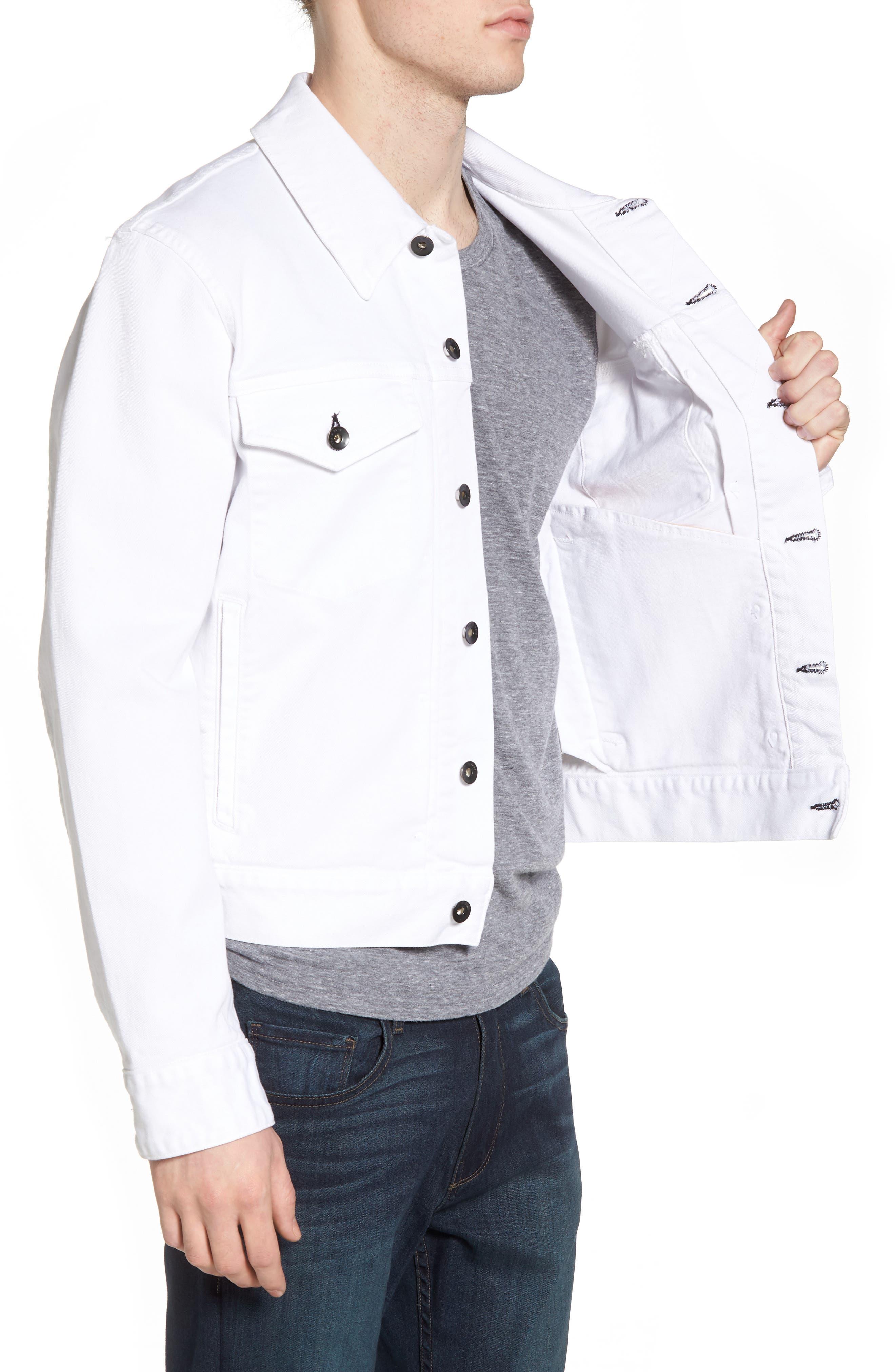 Denim Jacket,                             Alternate thumbnail 3, color,                             WHITE