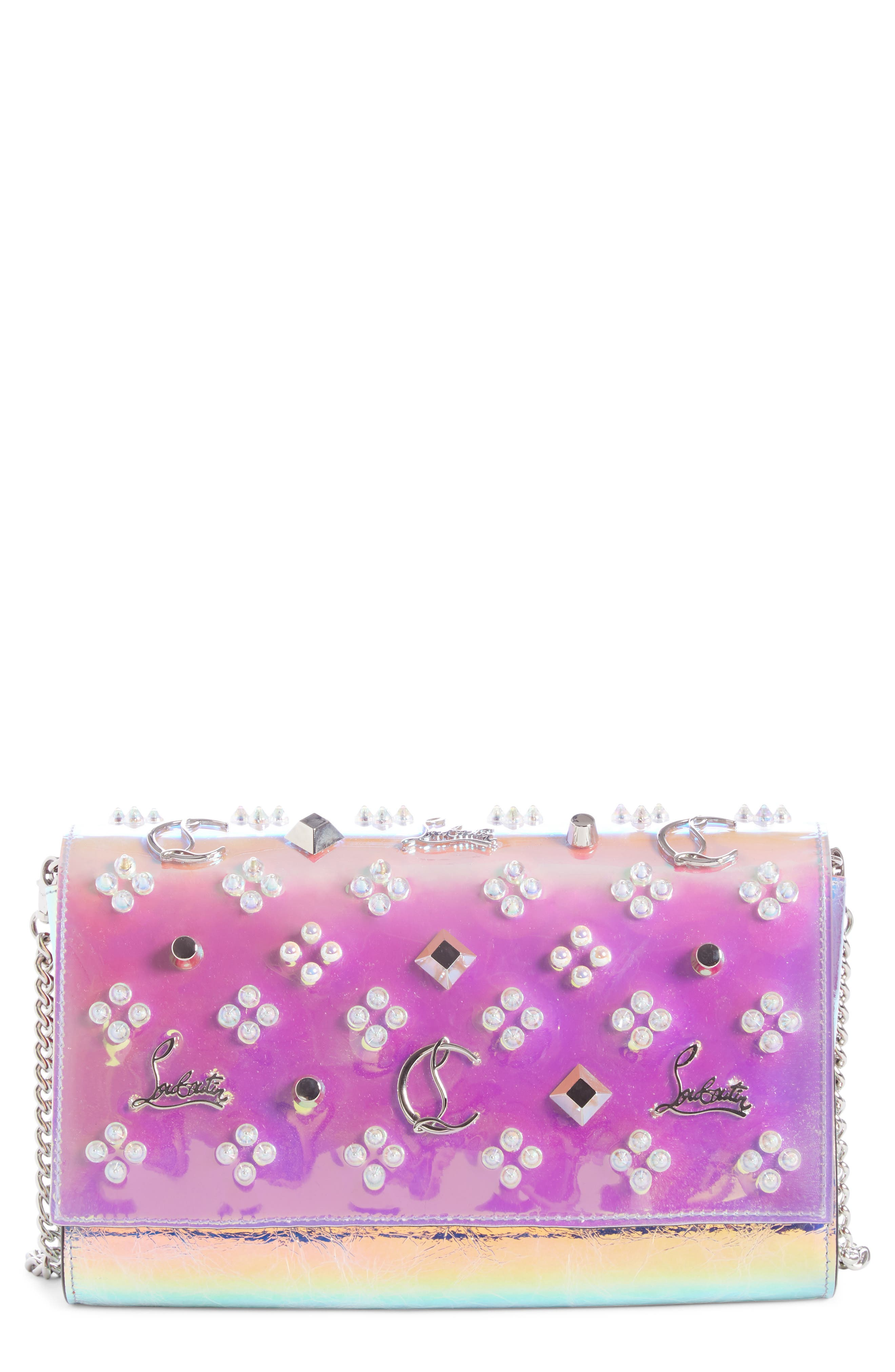 Paloma Loubisky Studded Leather Clutch,                             Main thumbnail 1, color,                             MULTI AB