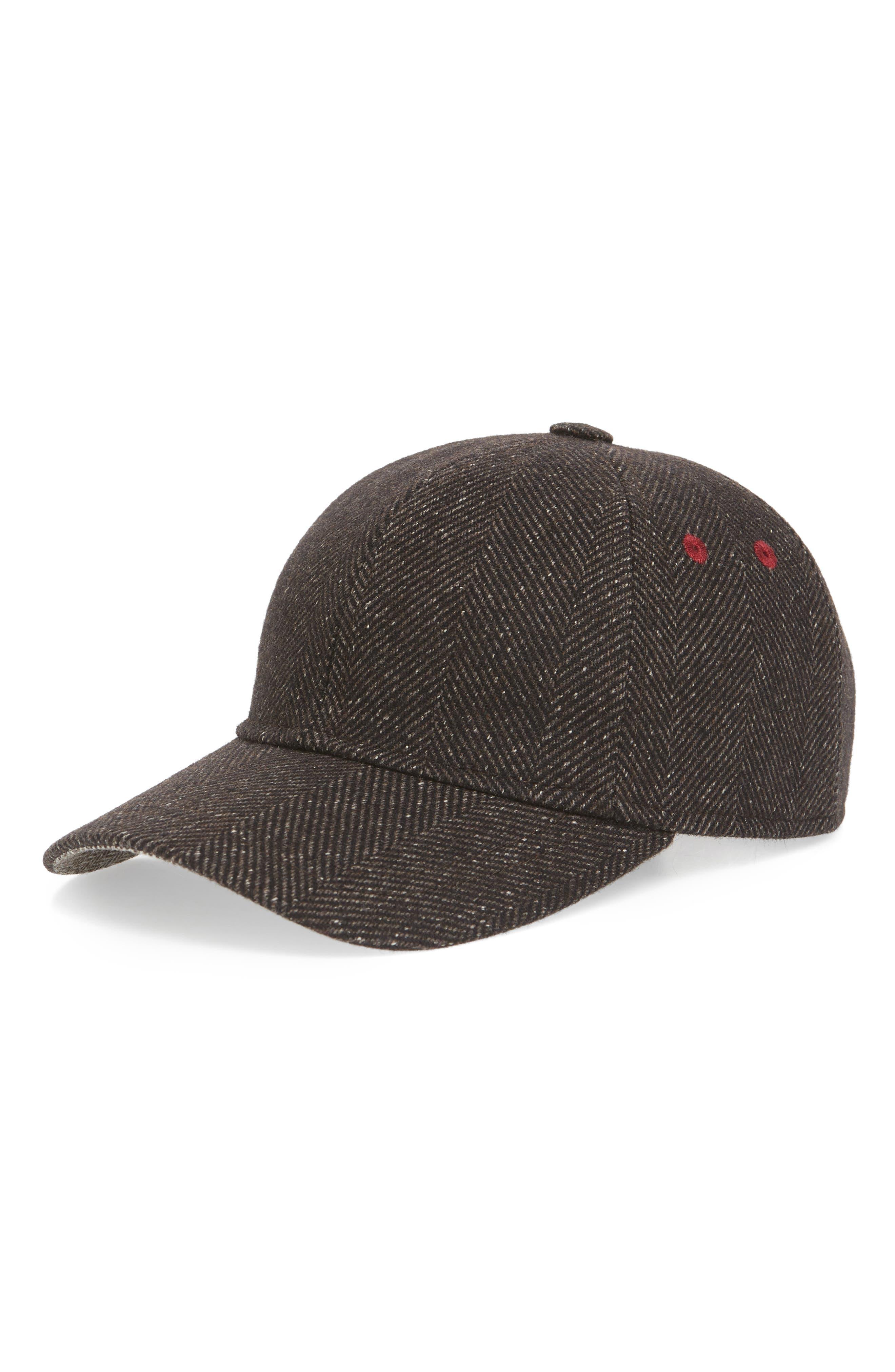 Herringbone Baseball Cap,                         Main,                         color, BROWN