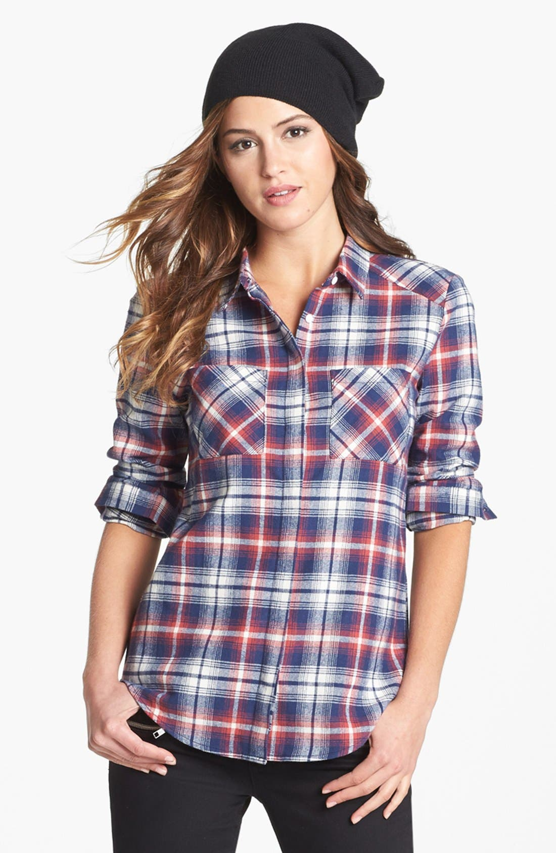 OLIVE & OAK,                             Plaid Flannel Shirt,                             Alternate thumbnail 3, color,                             641