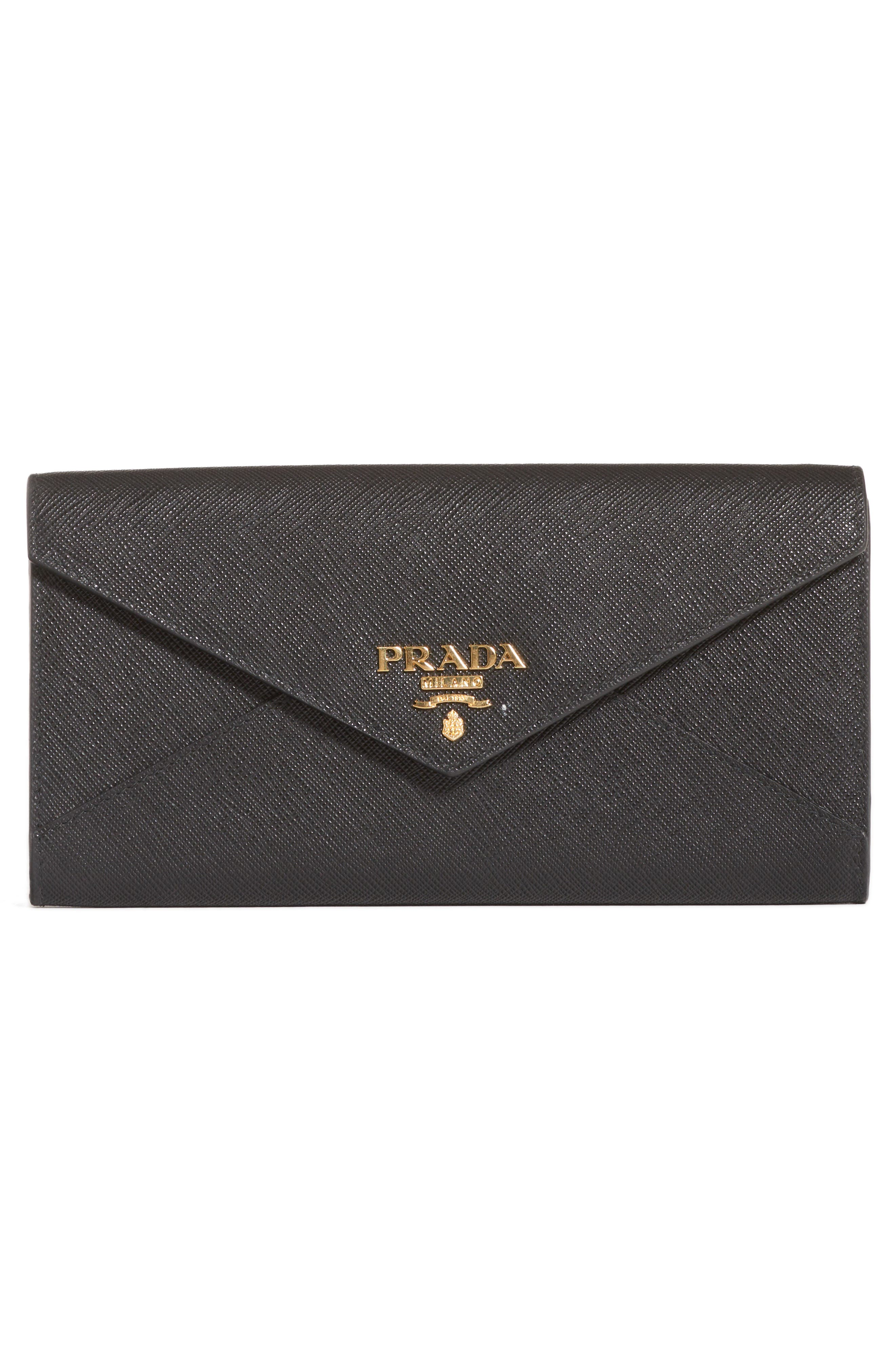 Saffiano Leather Envelope Wristlet,                             Alternate thumbnail 2, color,                             001