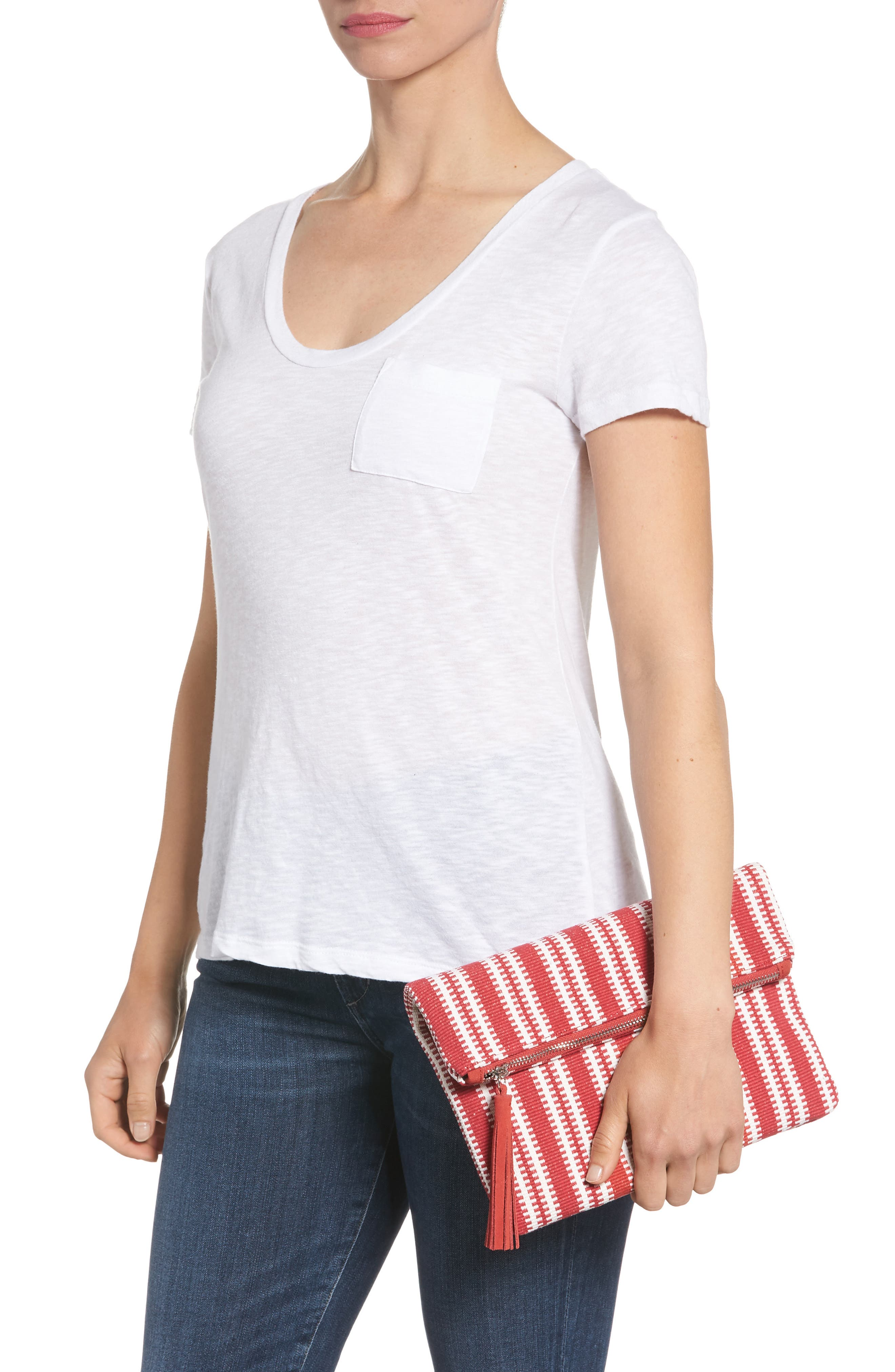Stripe Woven Clutch,                             Alternate thumbnail 2, color,