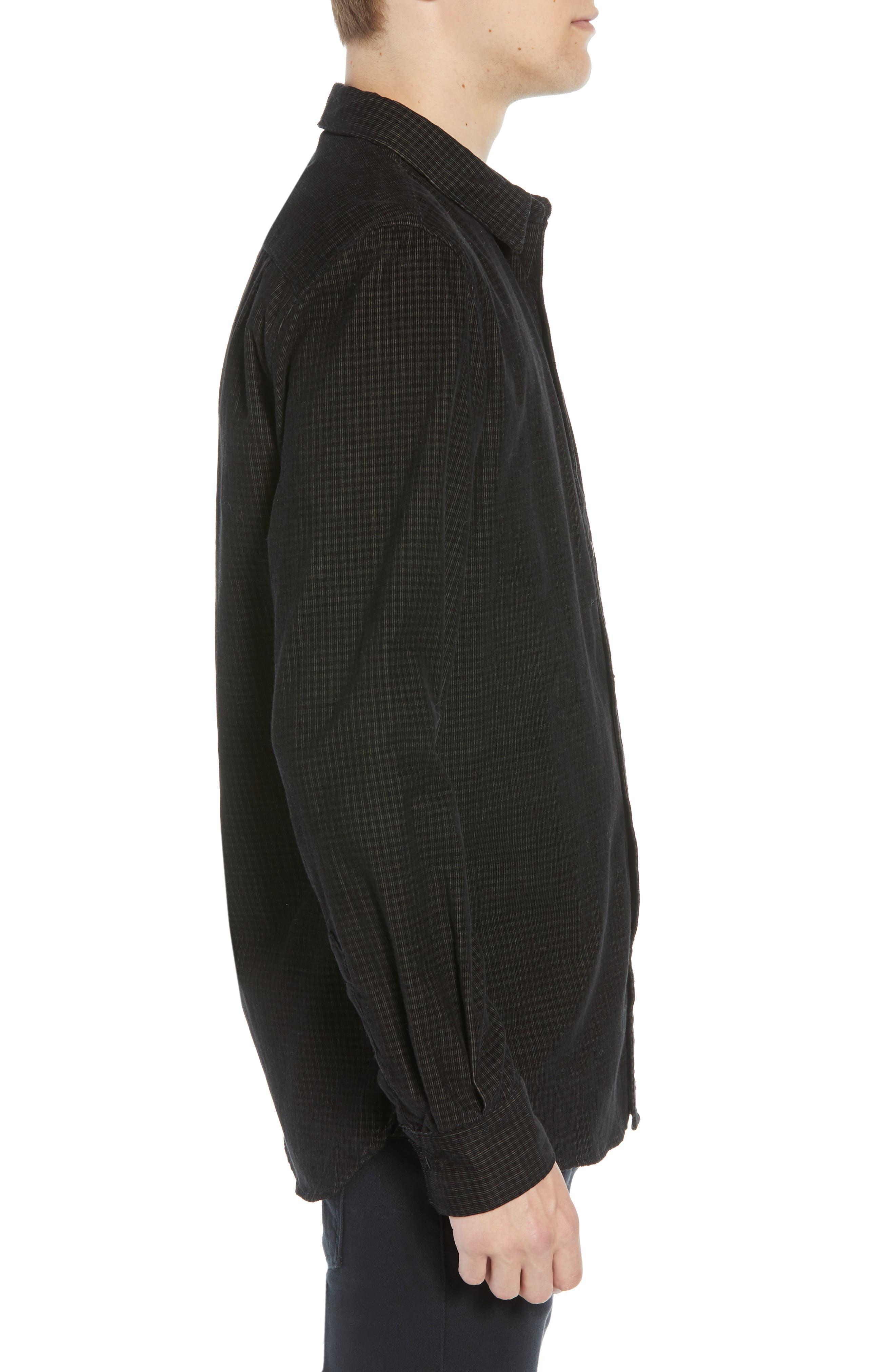 Regular Fit Mini Check Corduroy Shirt,                             Alternate thumbnail 4, color,                             BLACK IRIS