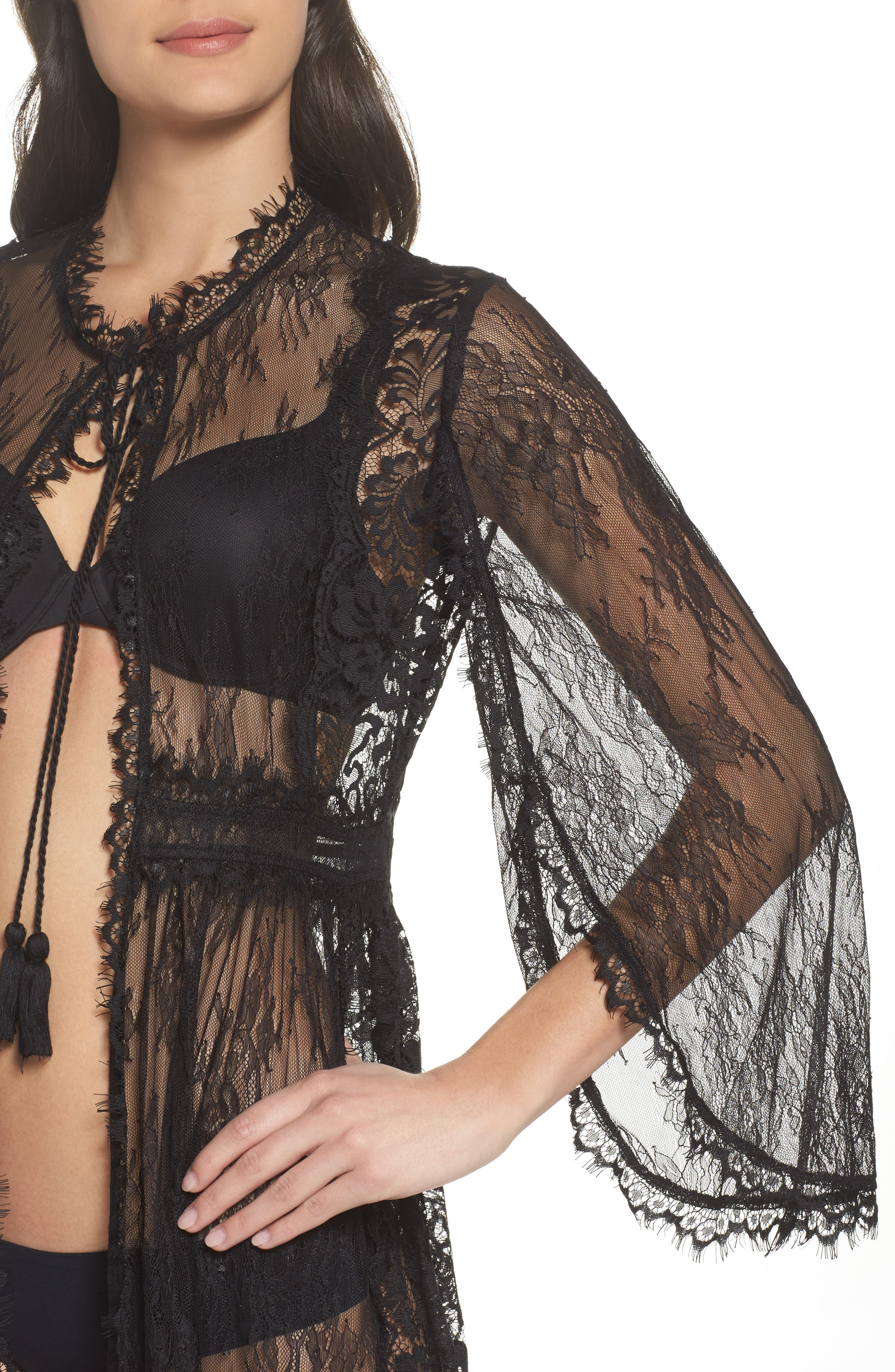 Intimately FP Chelsea Lace Robe,                             Alternate thumbnail 4, color,                             001