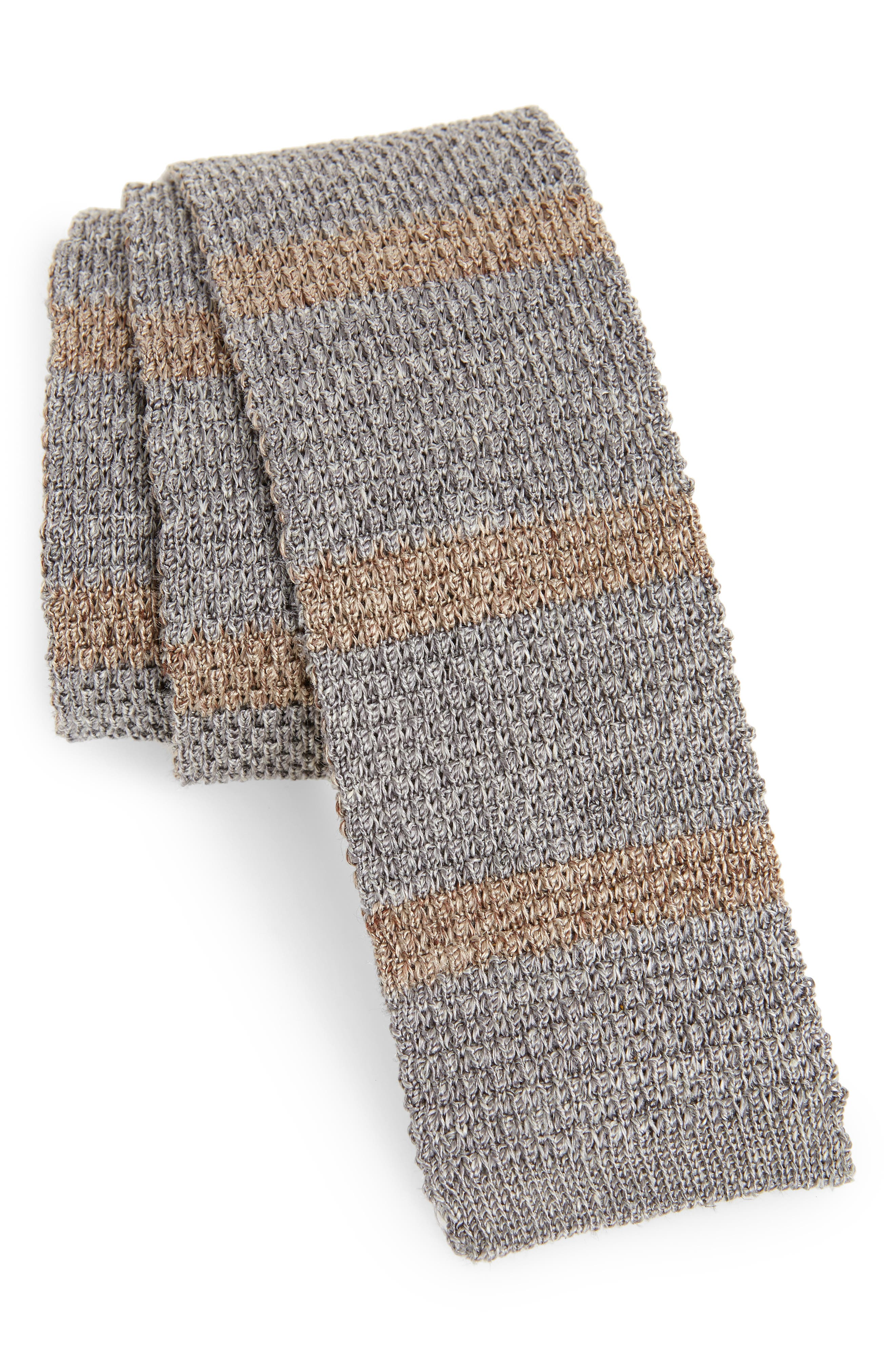 Stripe Skinny Woven Silk & Linen Tie,                         Main,                         color, 020
