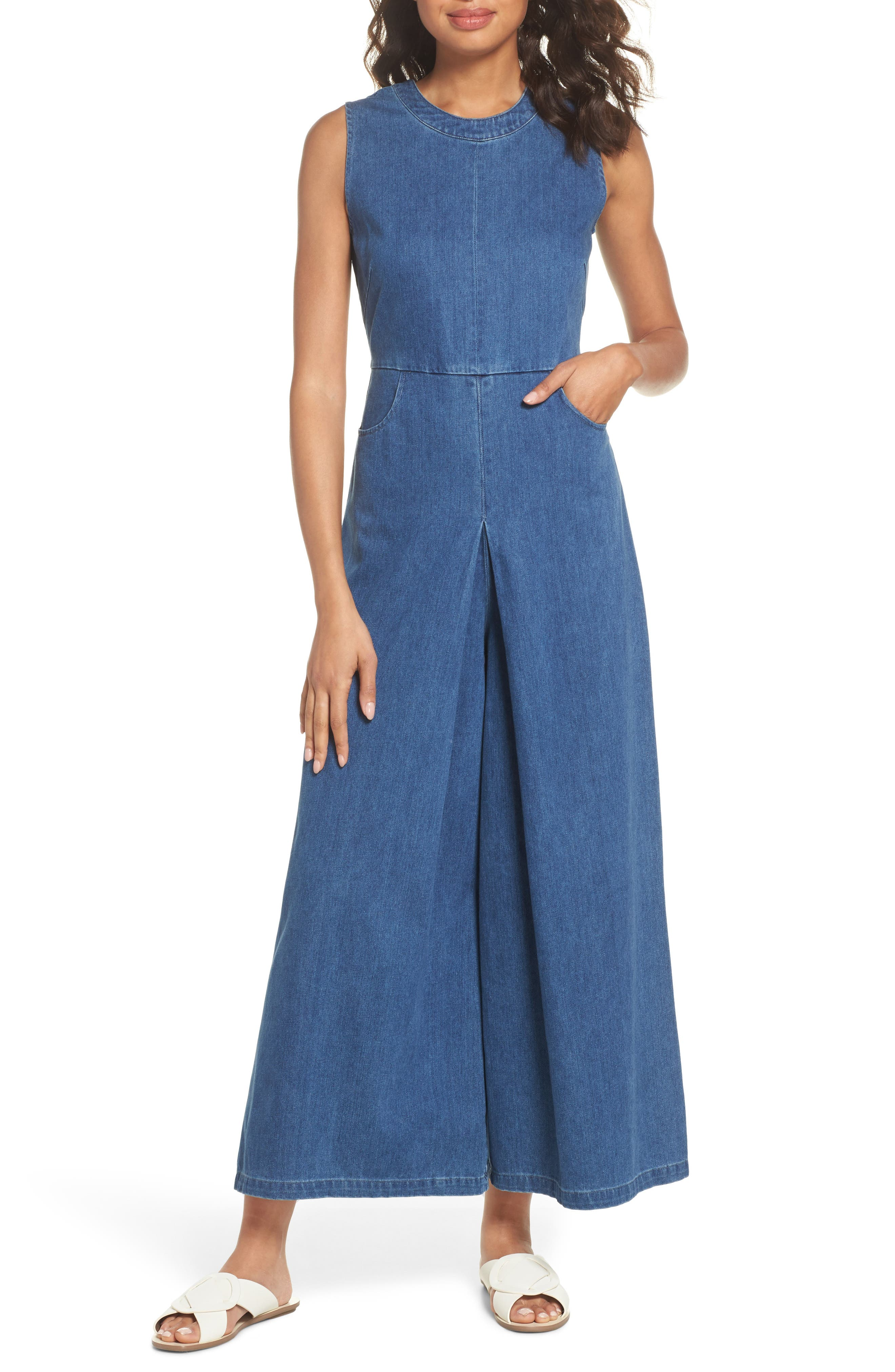 Hampton Denim Sleeveless Jumpsuit,                         Main,                         color, 400