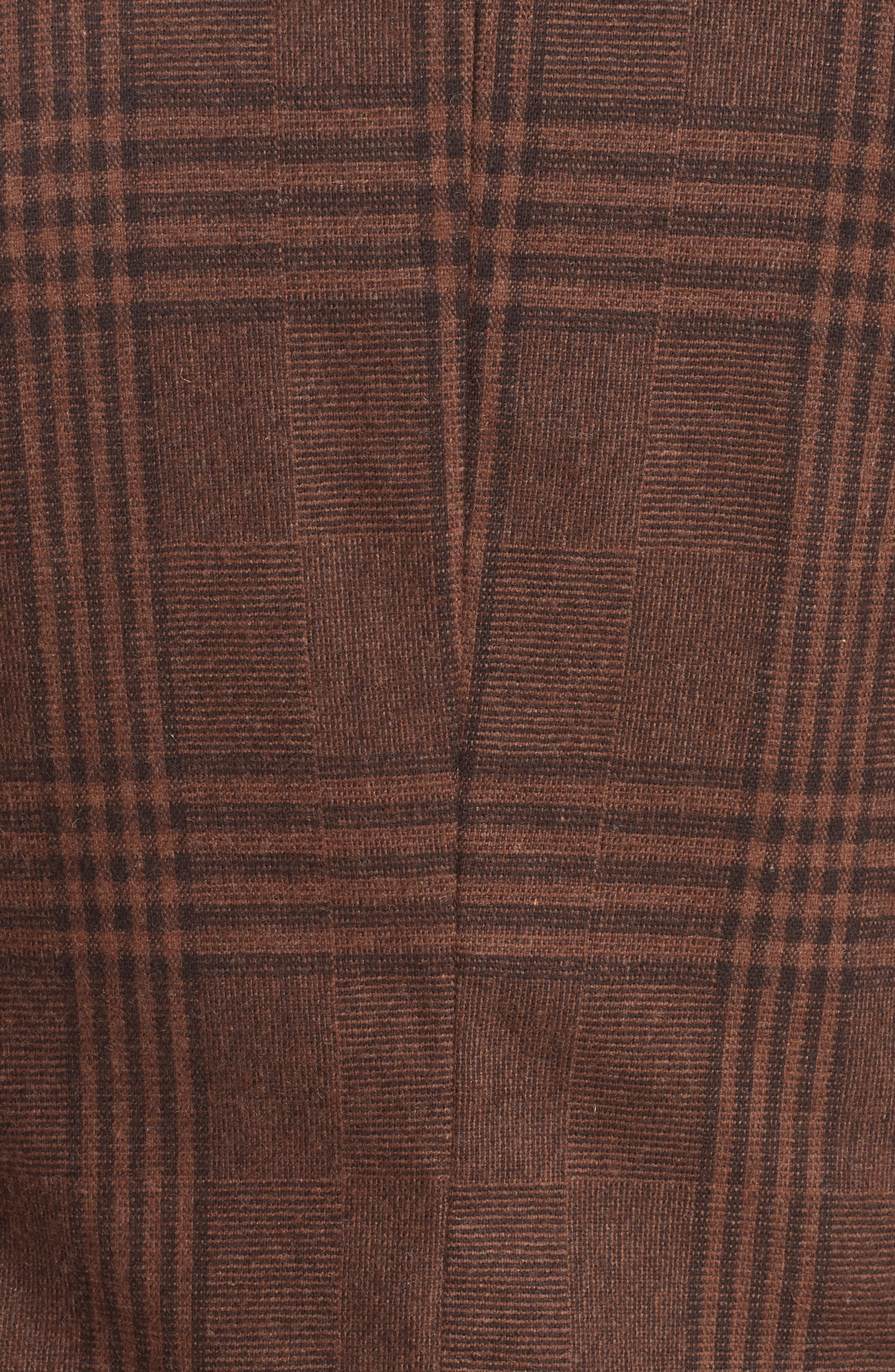 Trim Fit Plaid Stretch Wool Blend Sport Coat,                             Alternate thumbnail 6, color,                             BROWN