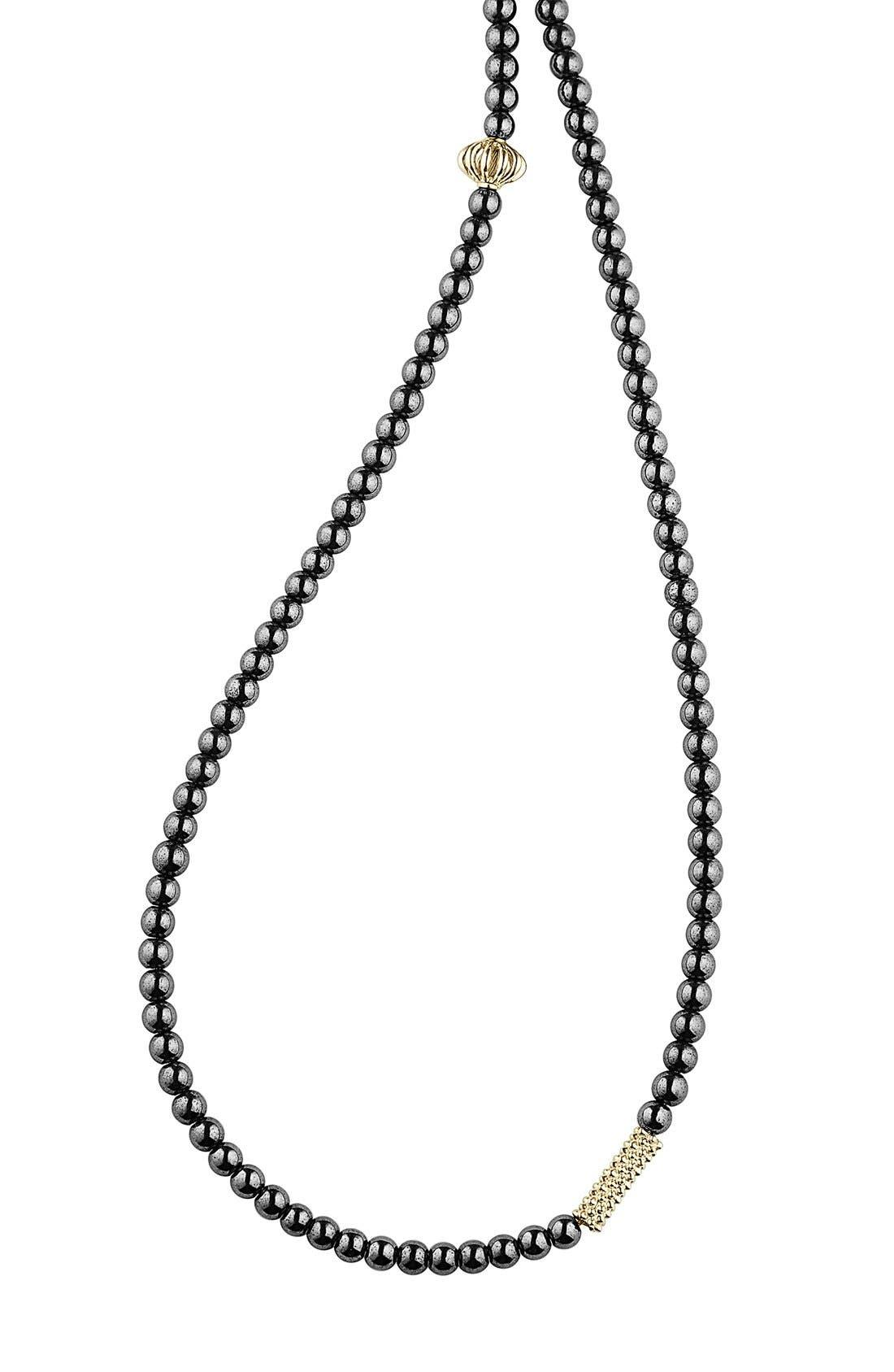 LAGOS,                             'Caviar Icon' Strand Necklace,                             Alternate thumbnail 3, color,                             HEMATITE/ GOLD
