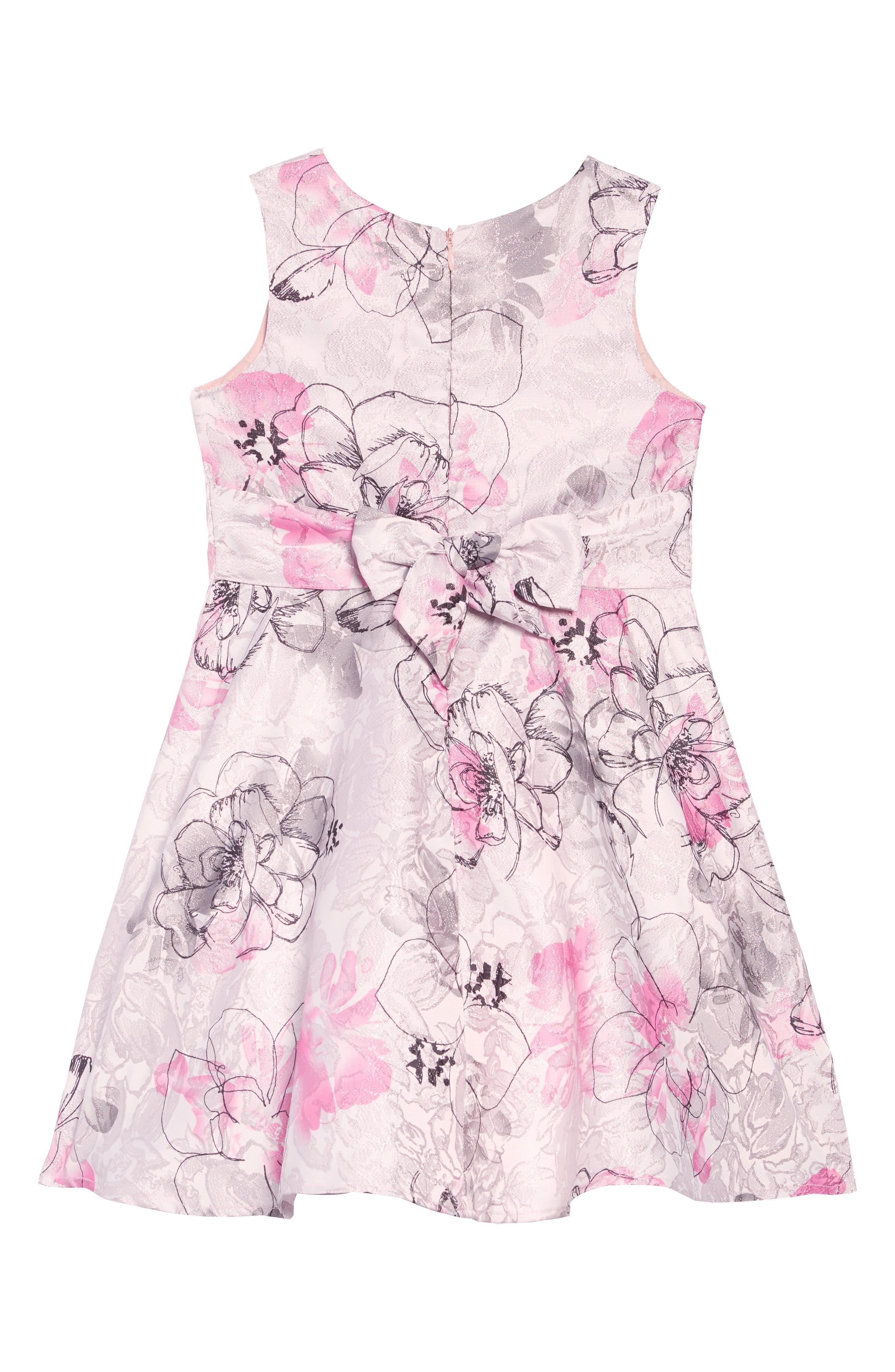 Jacquard Floral Dress,                             Alternate thumbnail 2, color,                             MULTI PRINT