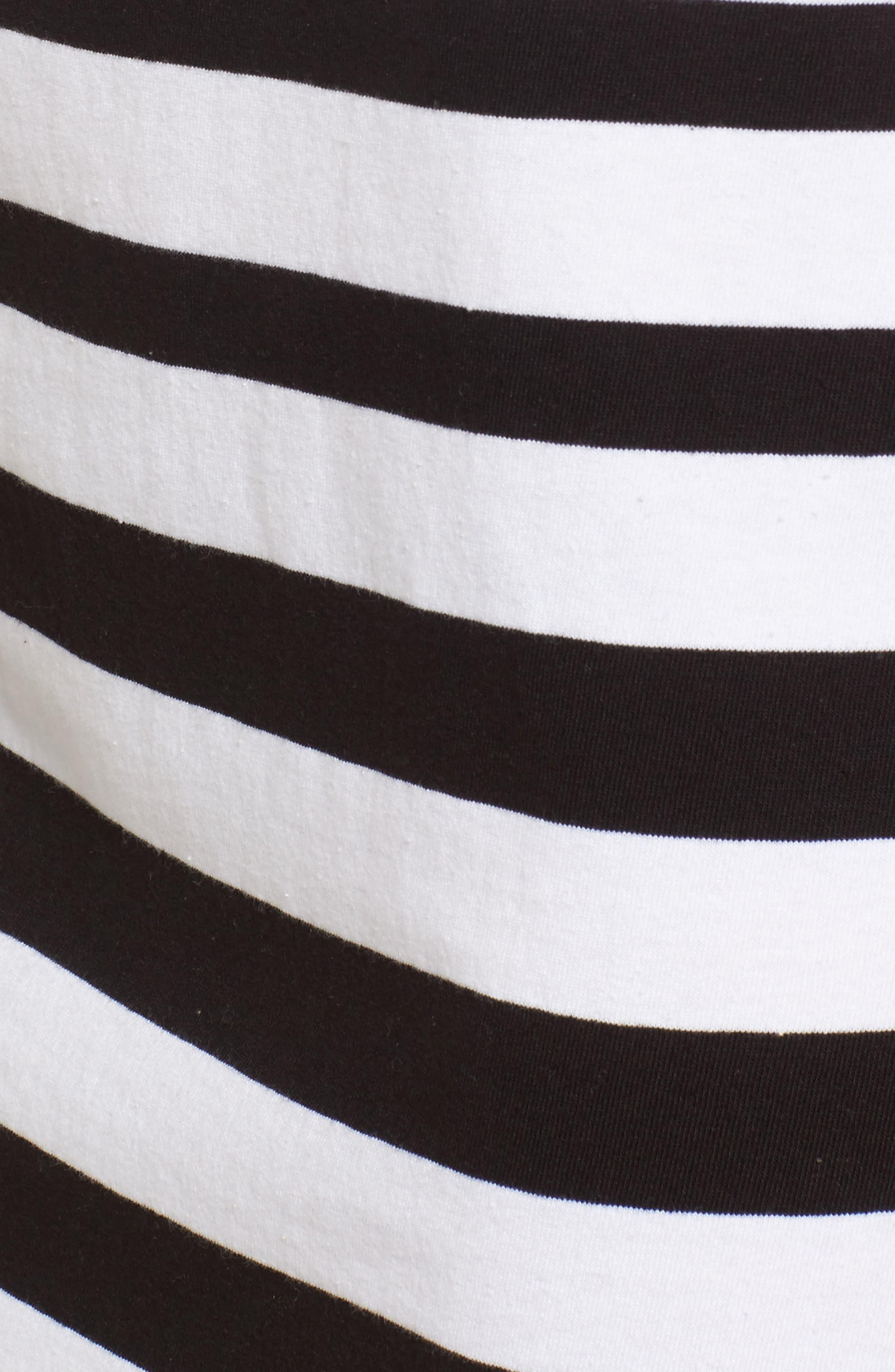 Breton Stripe Cotton Shift Dress,                             Alternate thumbnail 5, color,                             001