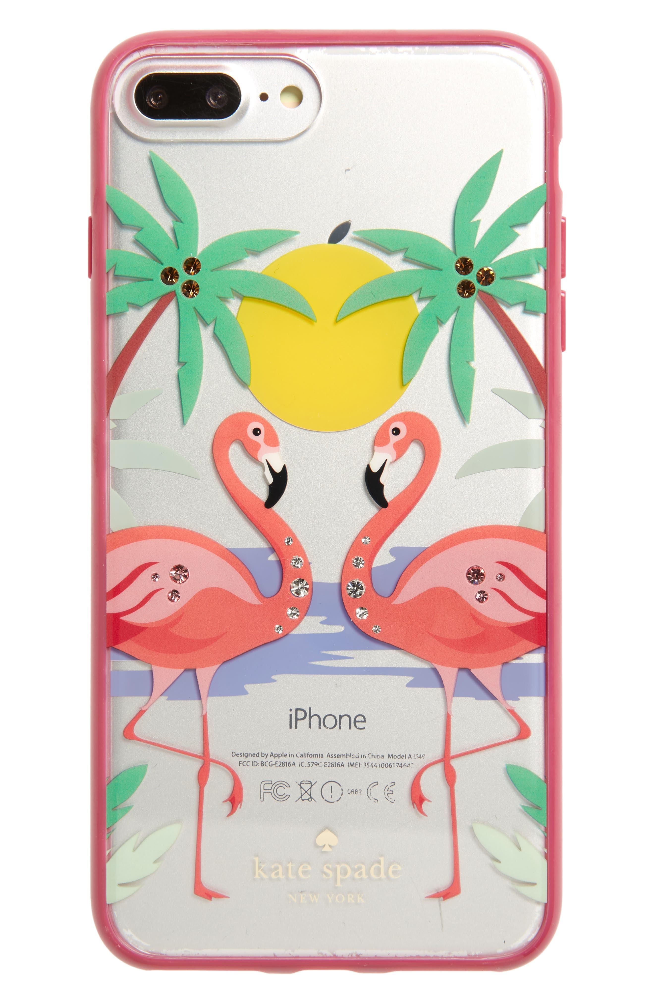 KATE SPADE NEW YORK,                             crystal embellished flamingos iPhone 7/8 & 7/8 Plus Case,                             Main thumbnail 1, color,                             650