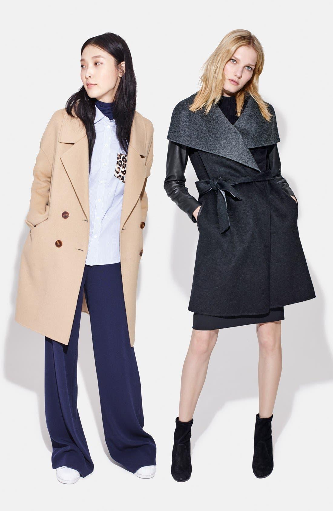 Leather Sleeve Wool Blend Wrap Coat,                             Alternate thumbnail 6, color,                             001