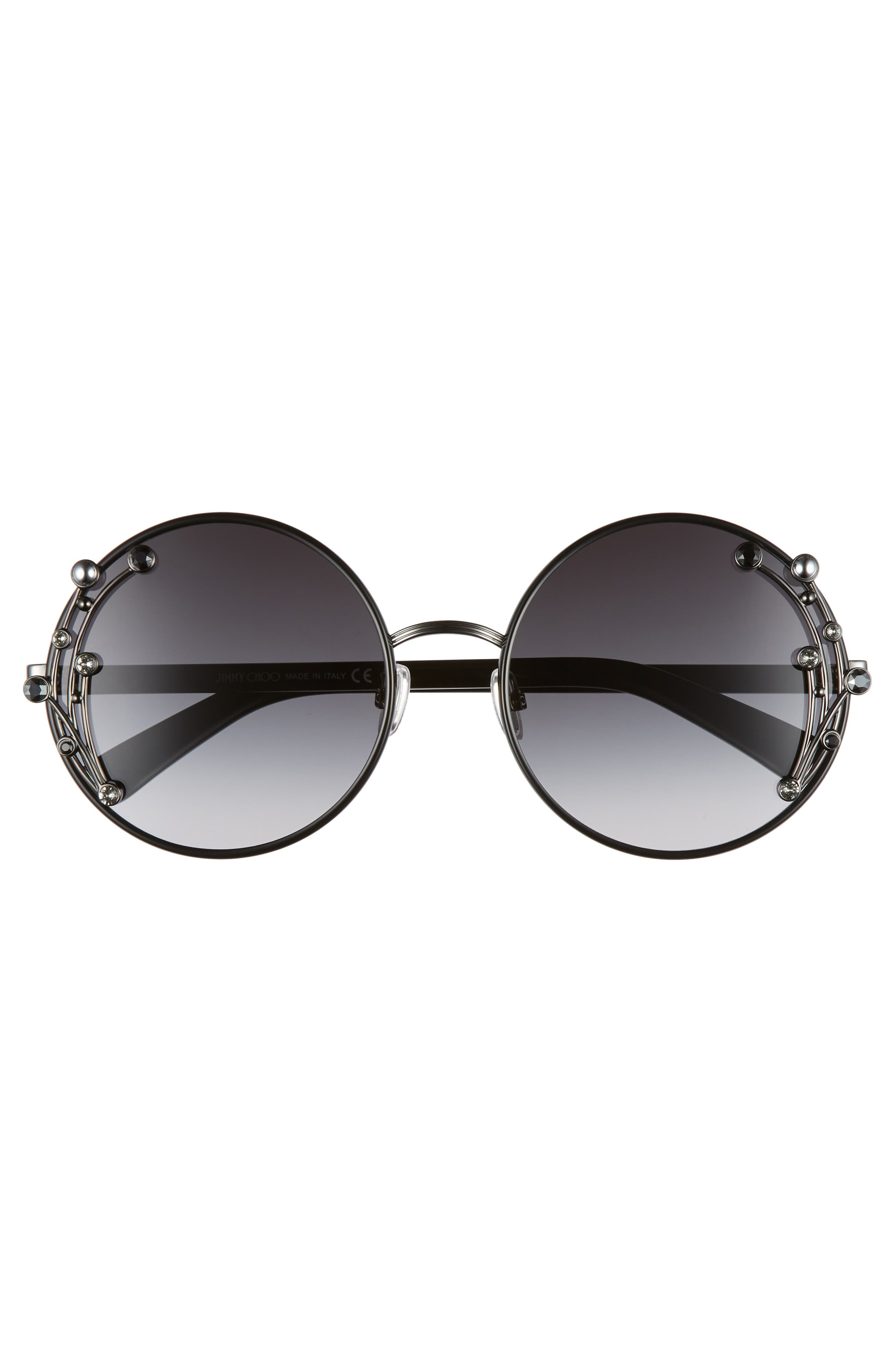 JIMMY CHOO,                             Gema 59mm Round Sunglasses,                             Alternate thumbnail 3, color,                             BLACK