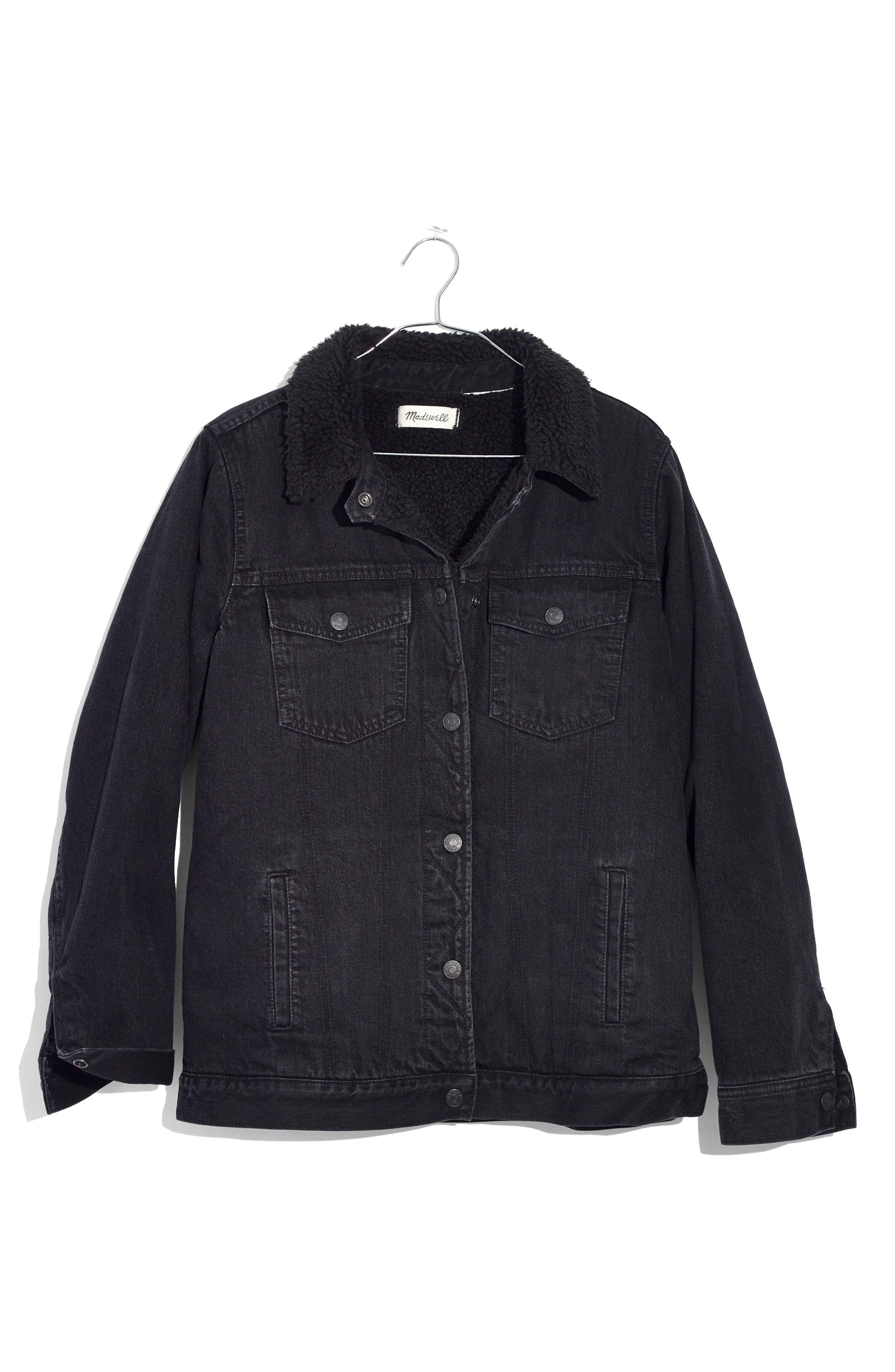 Oversize Denim Jacket with Fleece Collar,                             Alternate thumbnail 3, color,