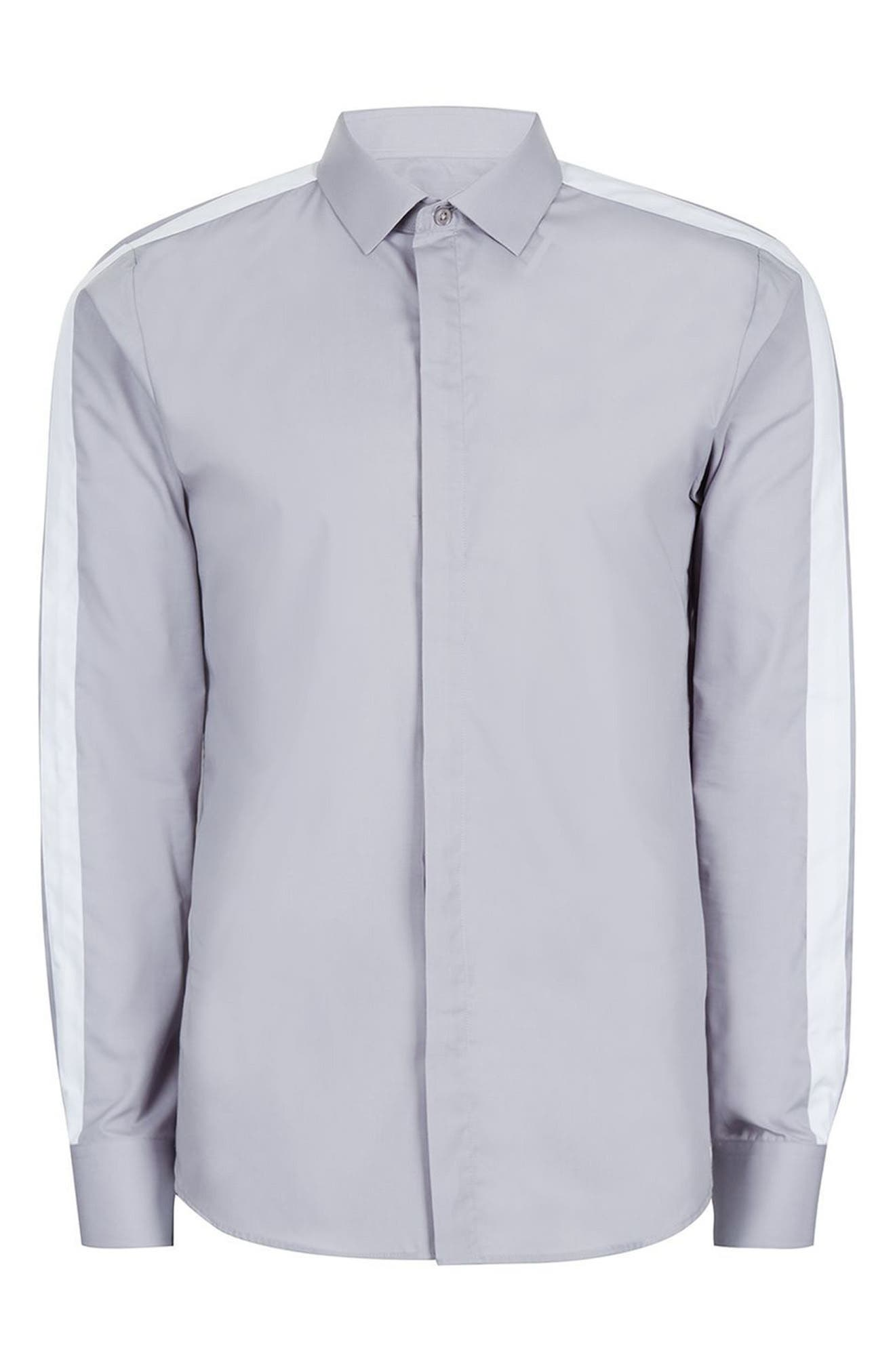 Slim Fit Contrast Stripe Woven Shirt,                             Alternate thumbnail 5, color,                             020