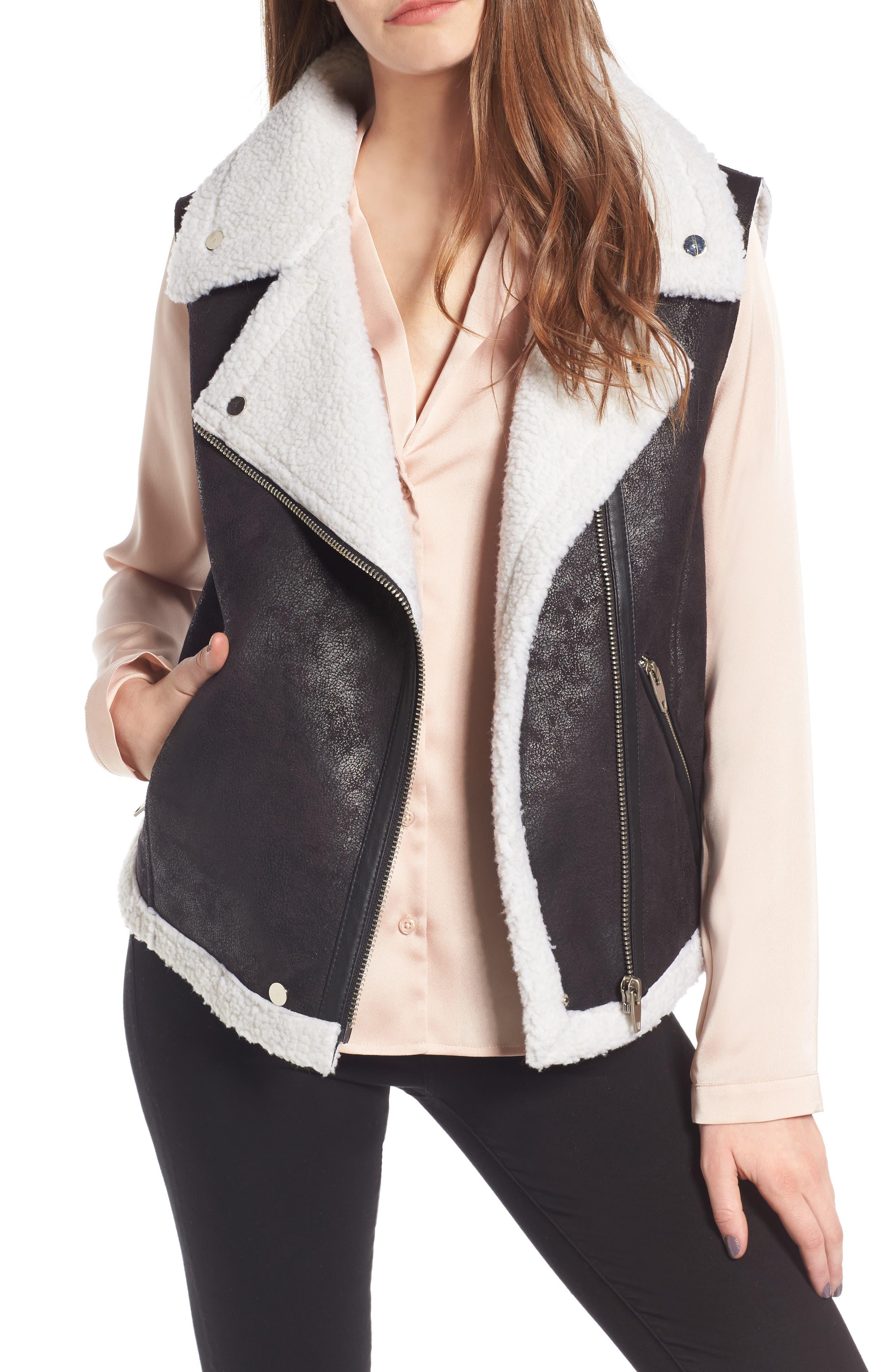 Faux Shearling Moto Vest,                         Main,                         color, 001