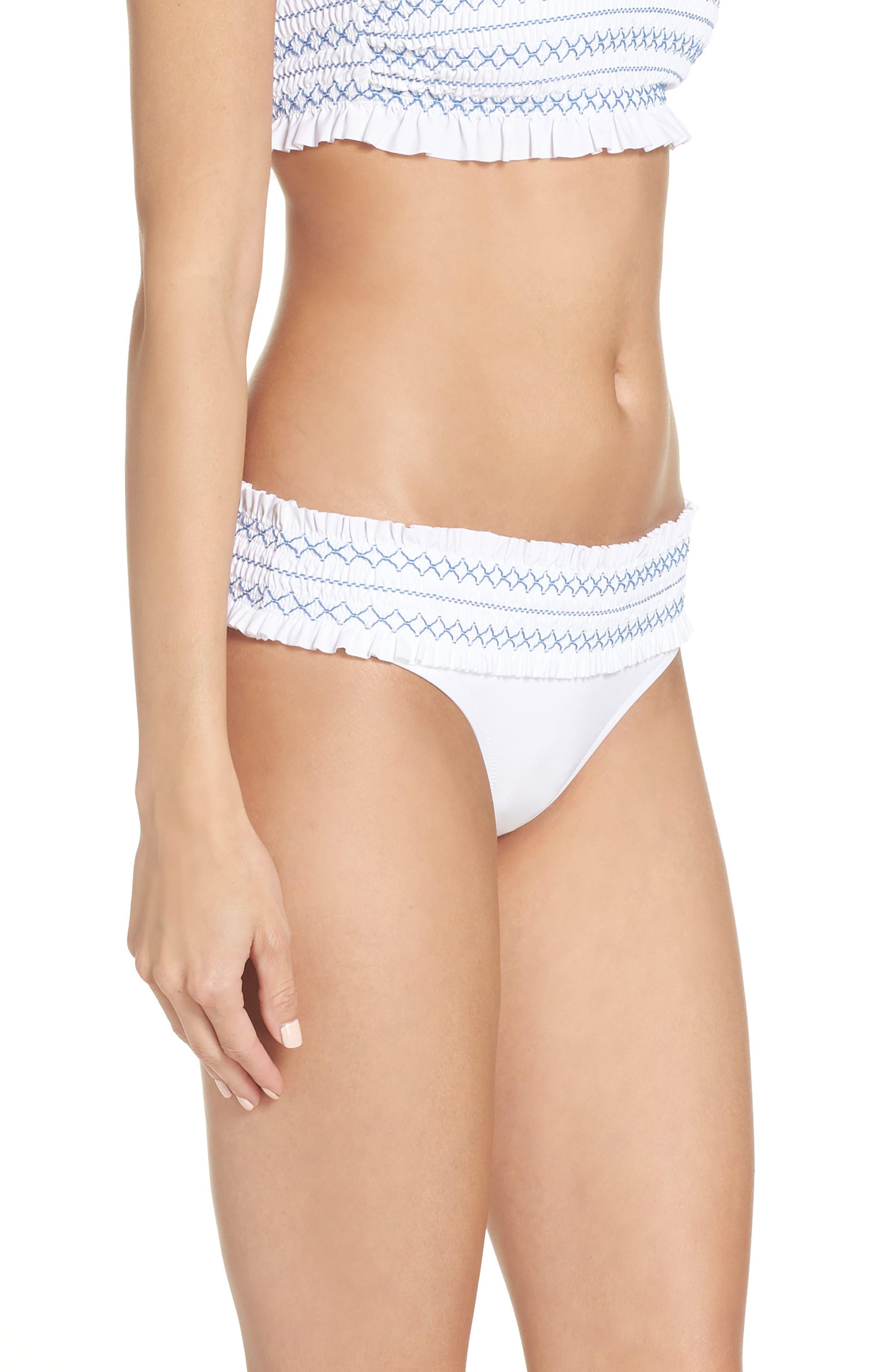 Costa Smocked Hipster Bikini Bottoms,                             Alternate thumbnail 3, color,                             WHITE / BLUE DUSK